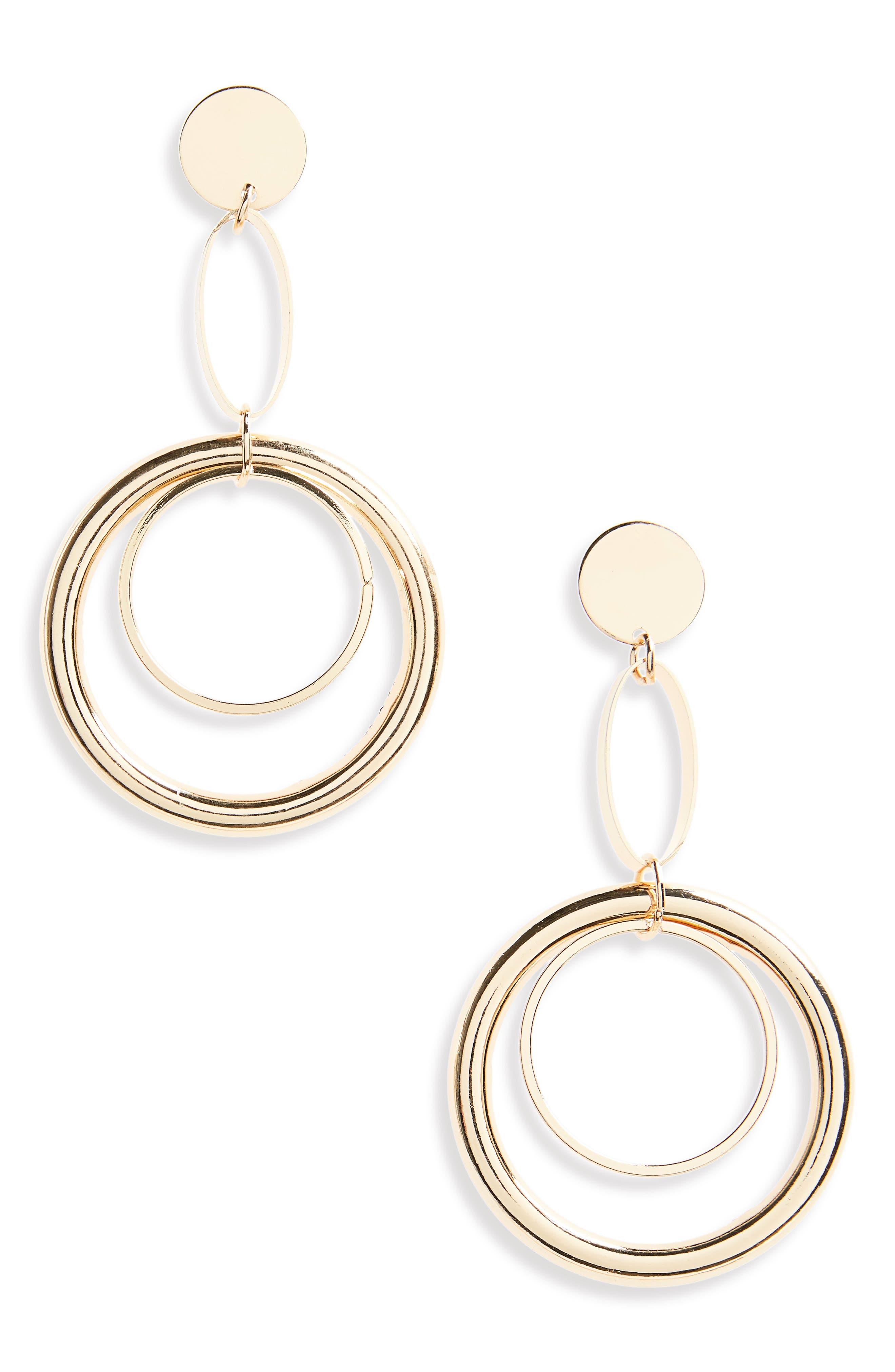 Circle Chain Drop Earrings,                             Main thumbnail 1, color,                             Gold
