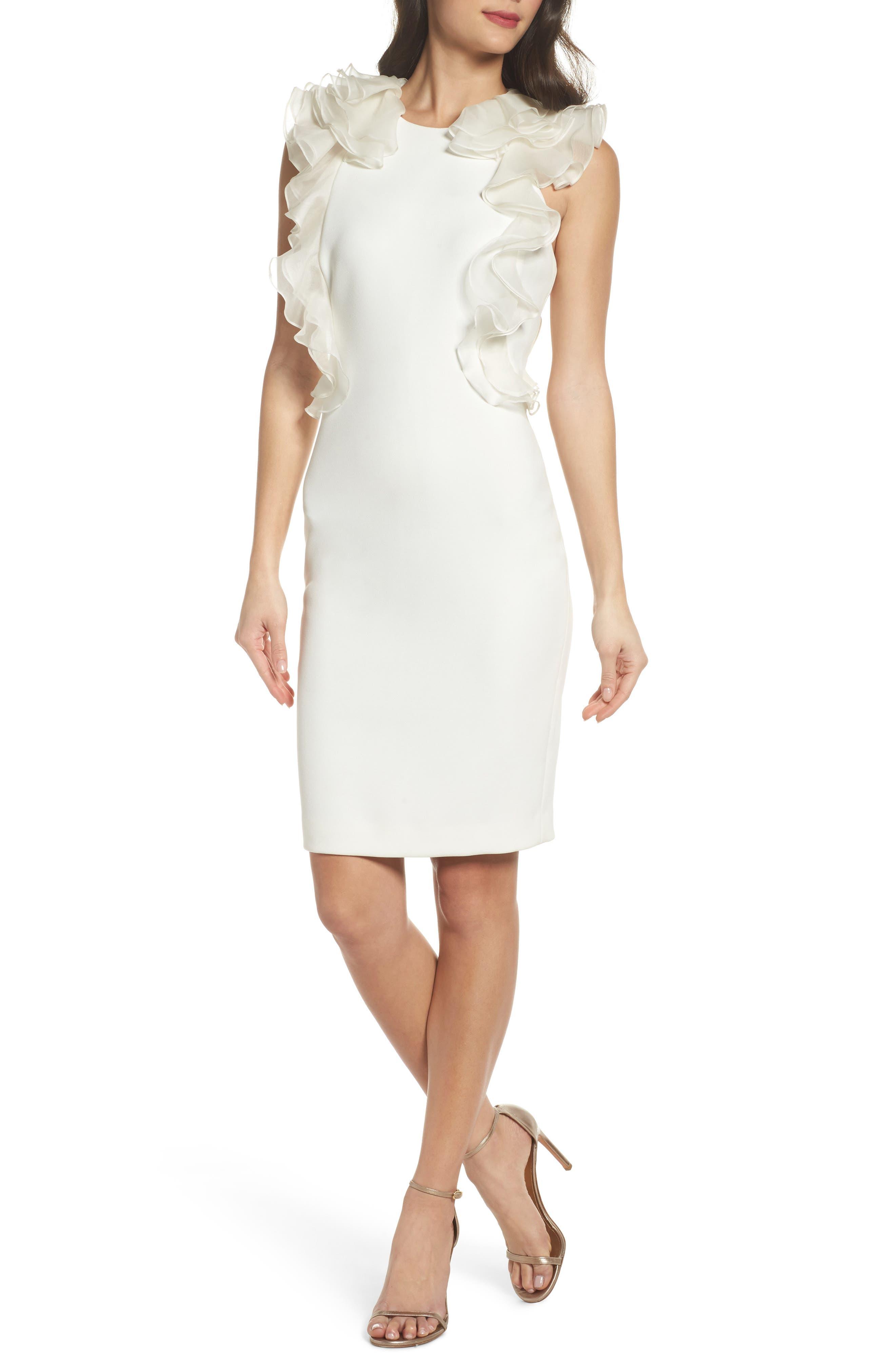Ruffle Back Sheath Dress,                             Main thumbnail 1, color,                             Ivory