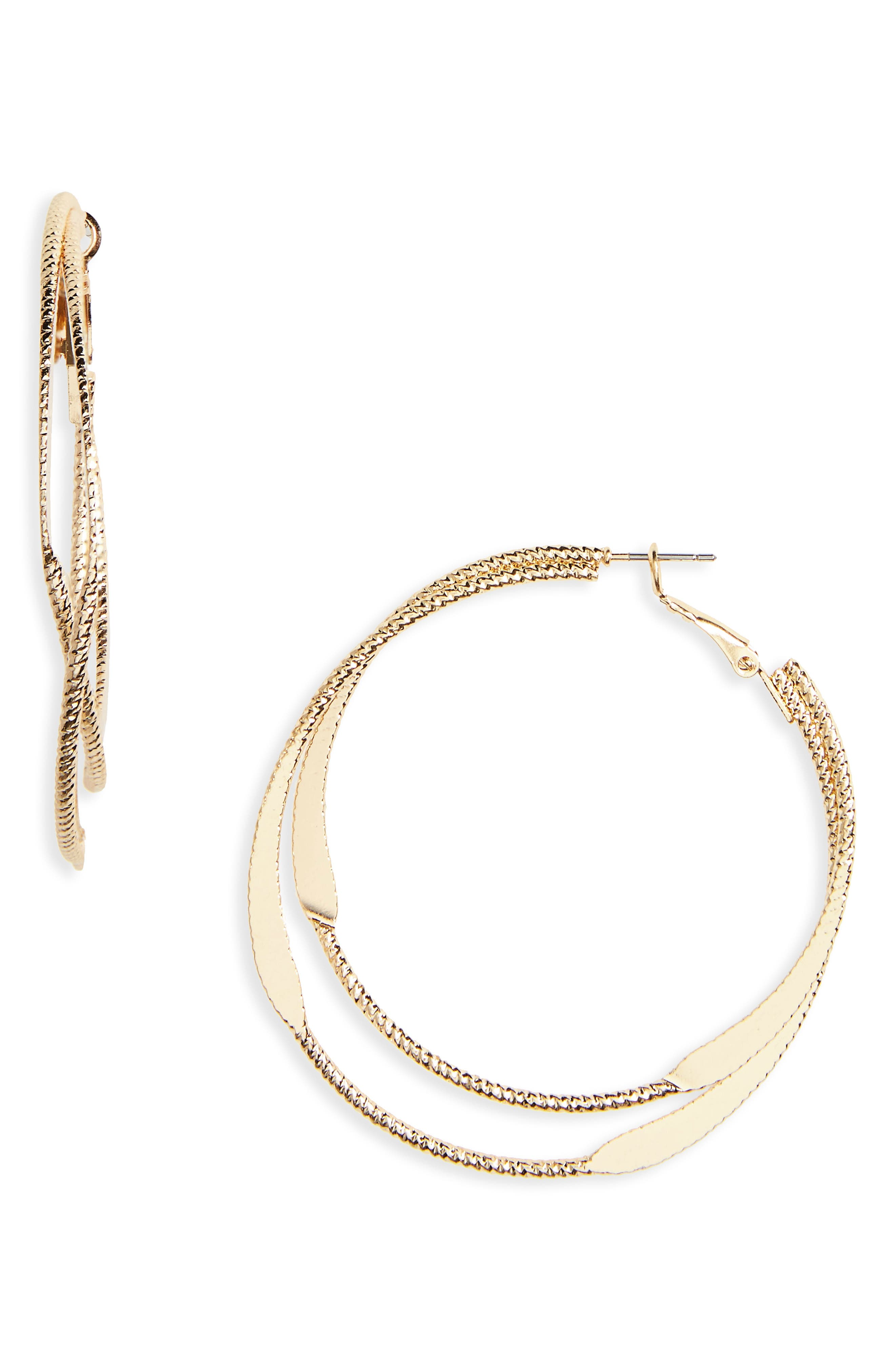 Layered Metal Hoop Earrings,                             Main thumbnail 1, color,                             Gold