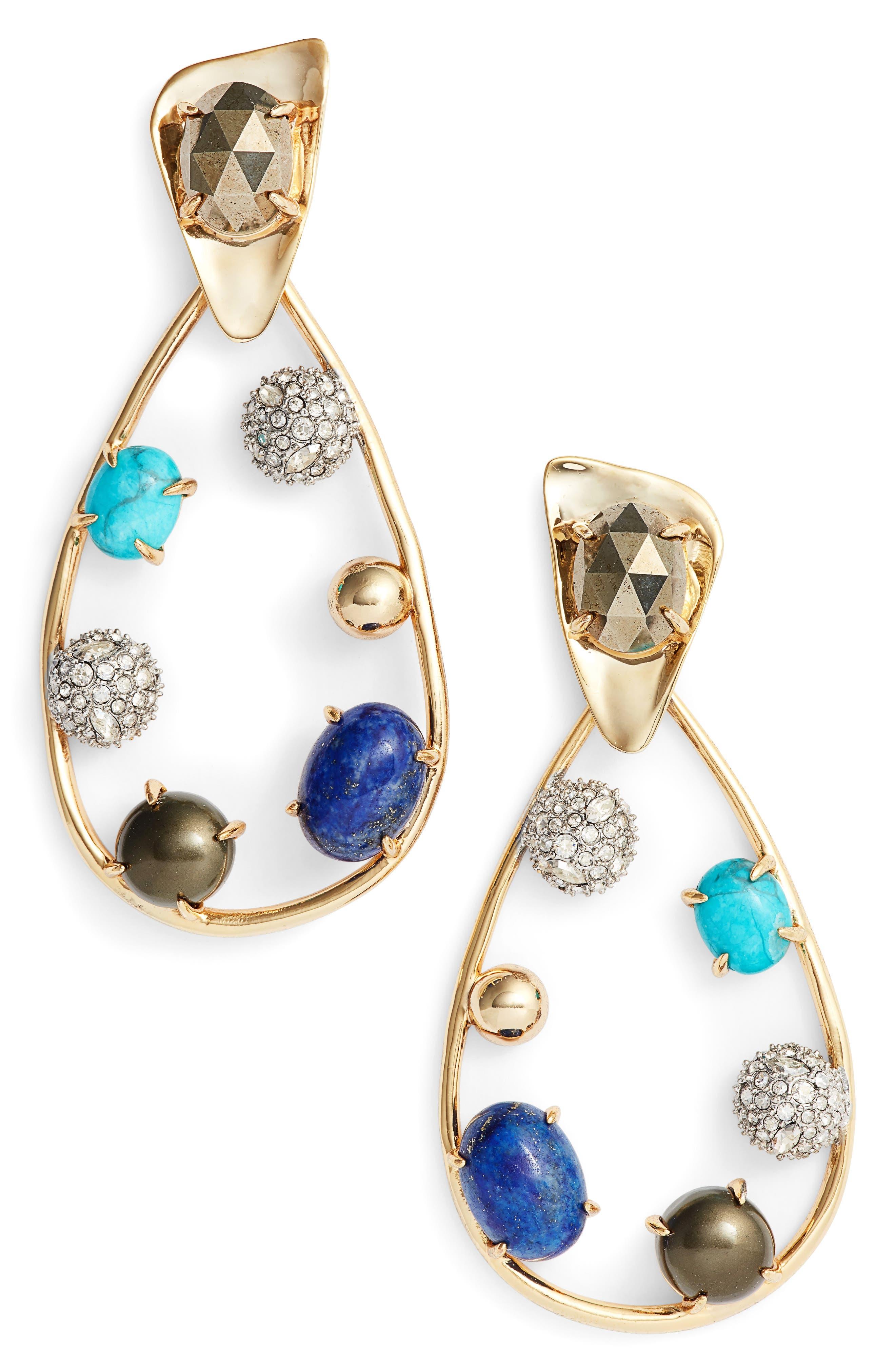 Multistone Teardrop Drop Earrings,                         Main,                         color, Gold