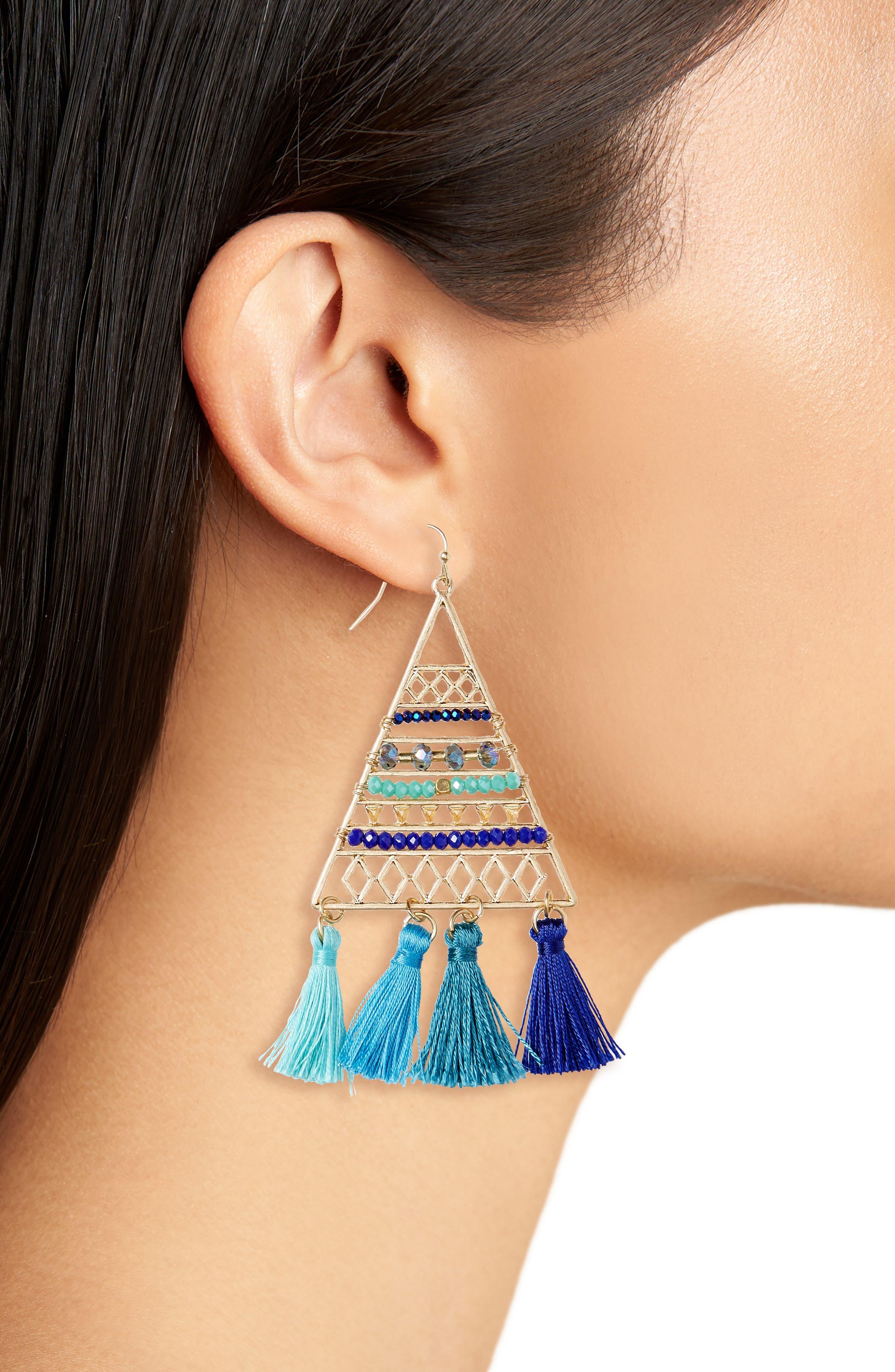 Triangle Bead & Tassel Earrings,                             Alternate thumbnail 2, color,                             Blue