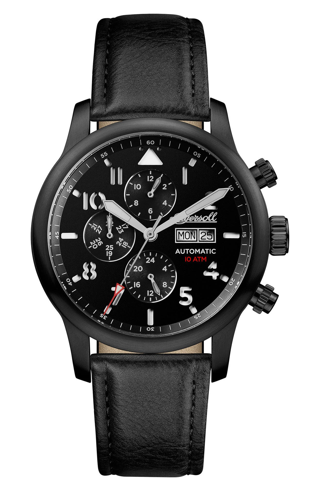 Ingersoll Hatton Automatic Multifunction Leather Strap Watch, 47mm,                         Main,                         color, Black