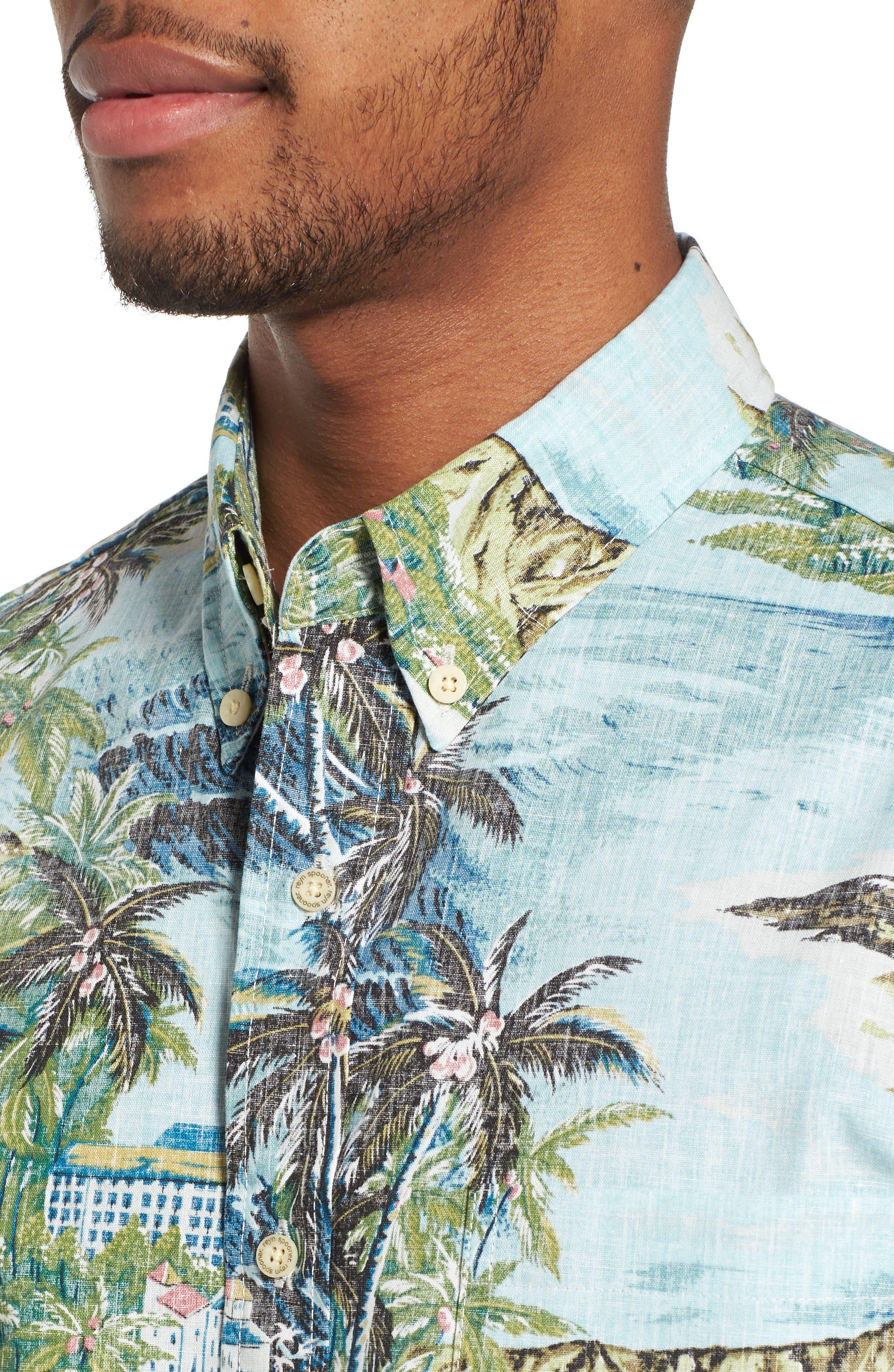 Diamond Head Classic Fit Print Sport Shirt,                             Alternate thumbnail 4, color,                             Pale Blue