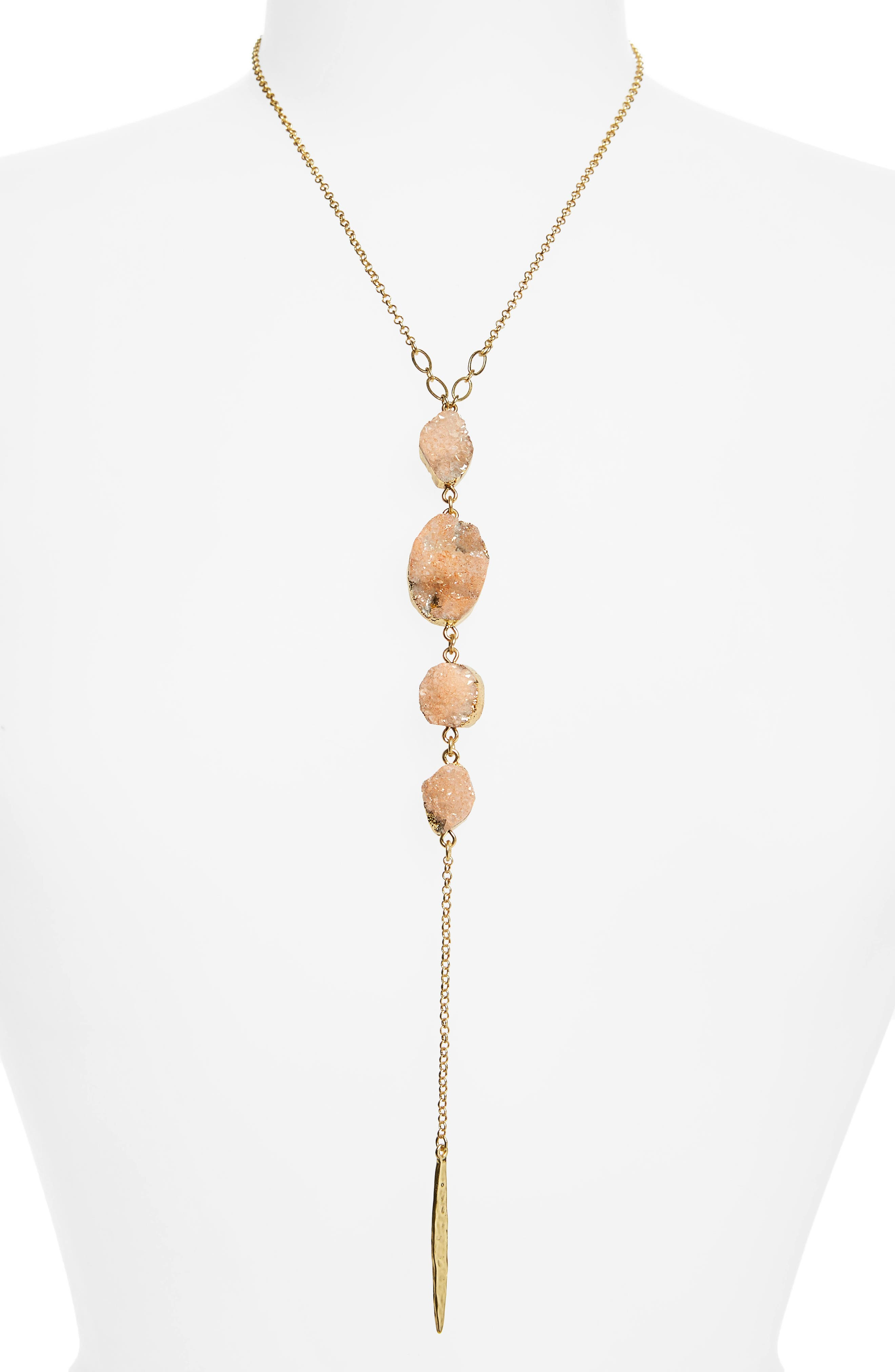 Drusy Chain Y-Necklace,                             Main thumbnail 1, color,                             Peach- Gold