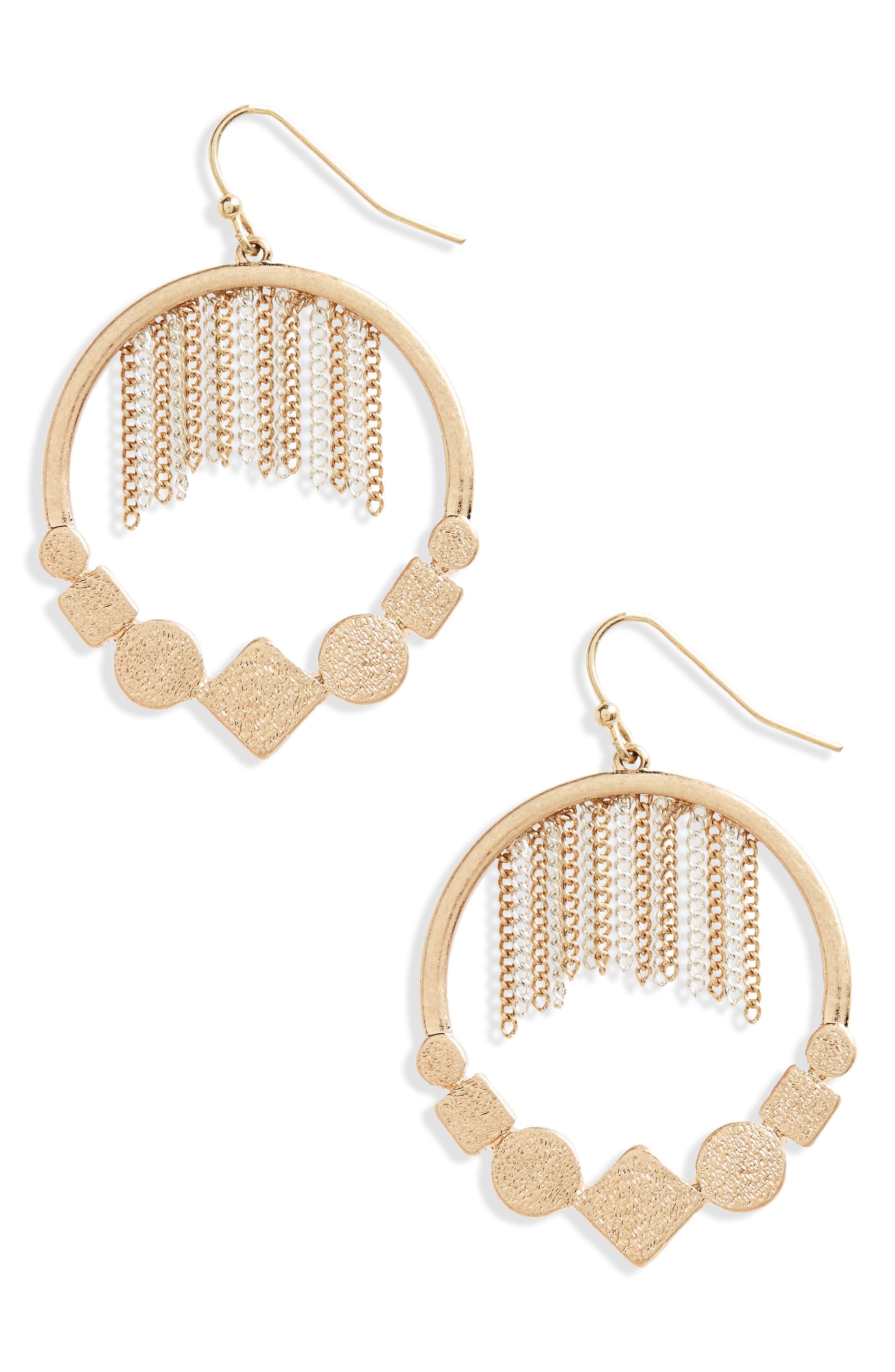 Chain Tassel Hoop Earrings,                         Main,                         color, Gold