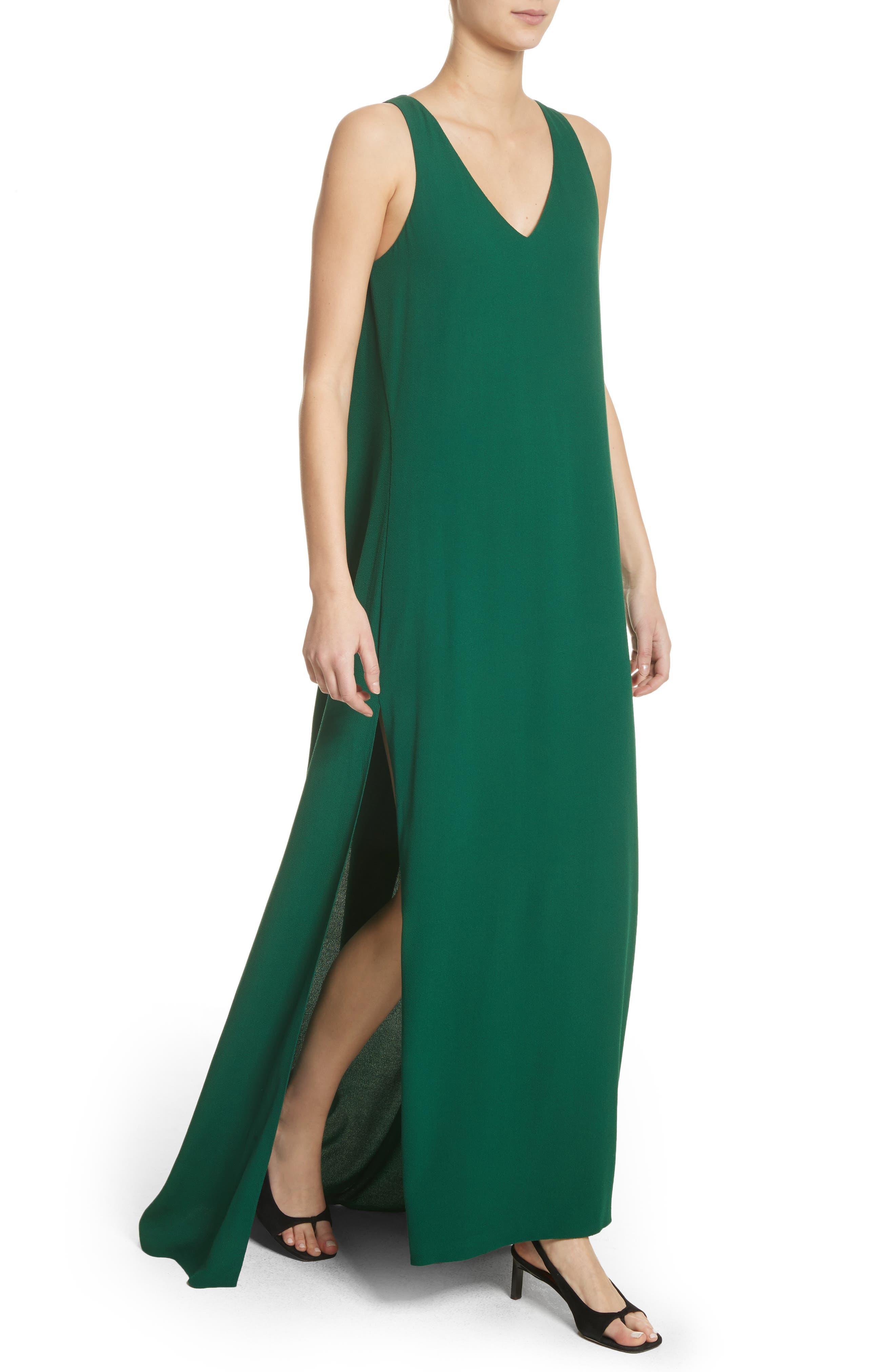 Crepe Cross Back Gown,                             Alternate thumbnail 3, color,                             Emerald