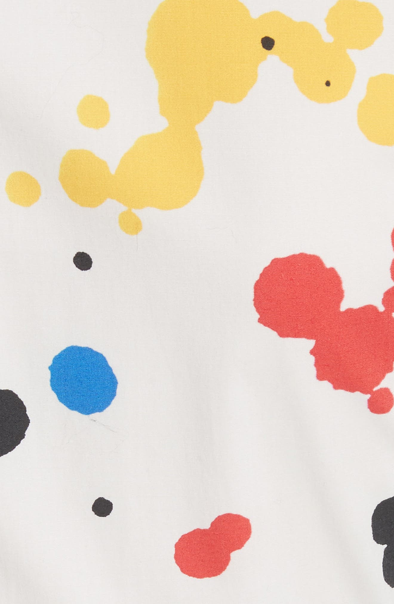 Paint Splatter Asymmetrical Poplin Shirt,                             Alternate thumbnail 5, color,                             White Multi