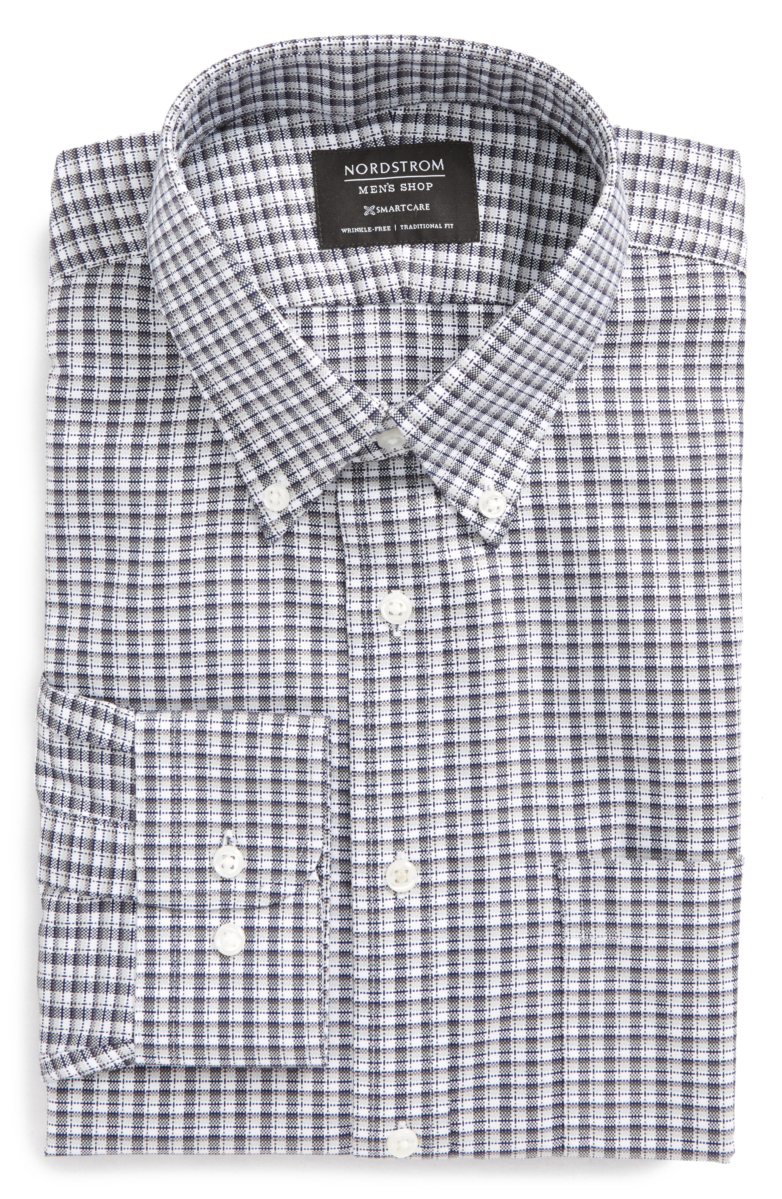 Smartcare<sup>®</sup> Traditional Fit Check Dress Shirt,                         Main,                         color, Grey Chromium