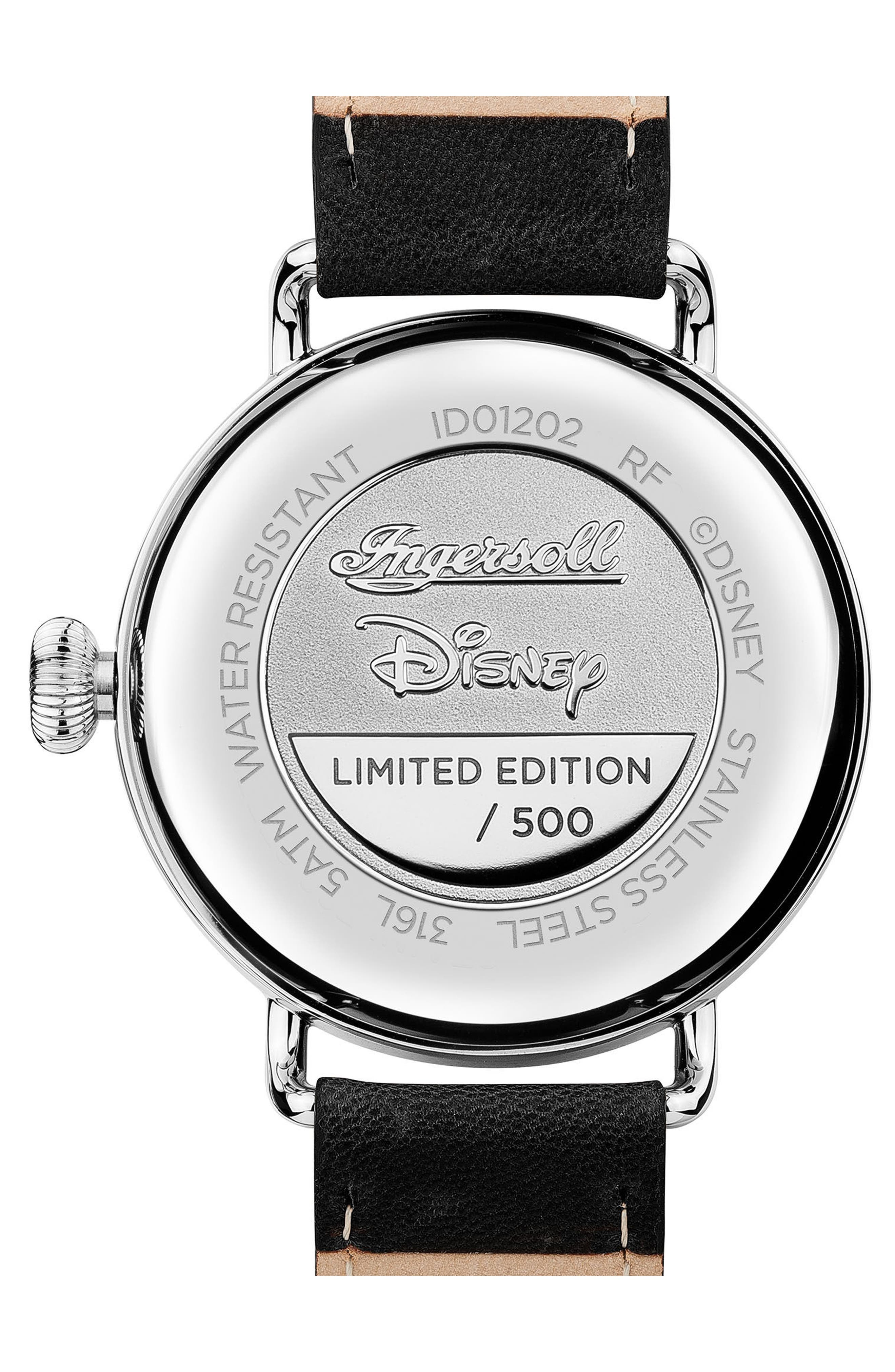 Ingersoll Trenton Disney Leather Strap Watch, 44mm,                             Alternate thumbnail 2, color,                             Black/ White/ Silver