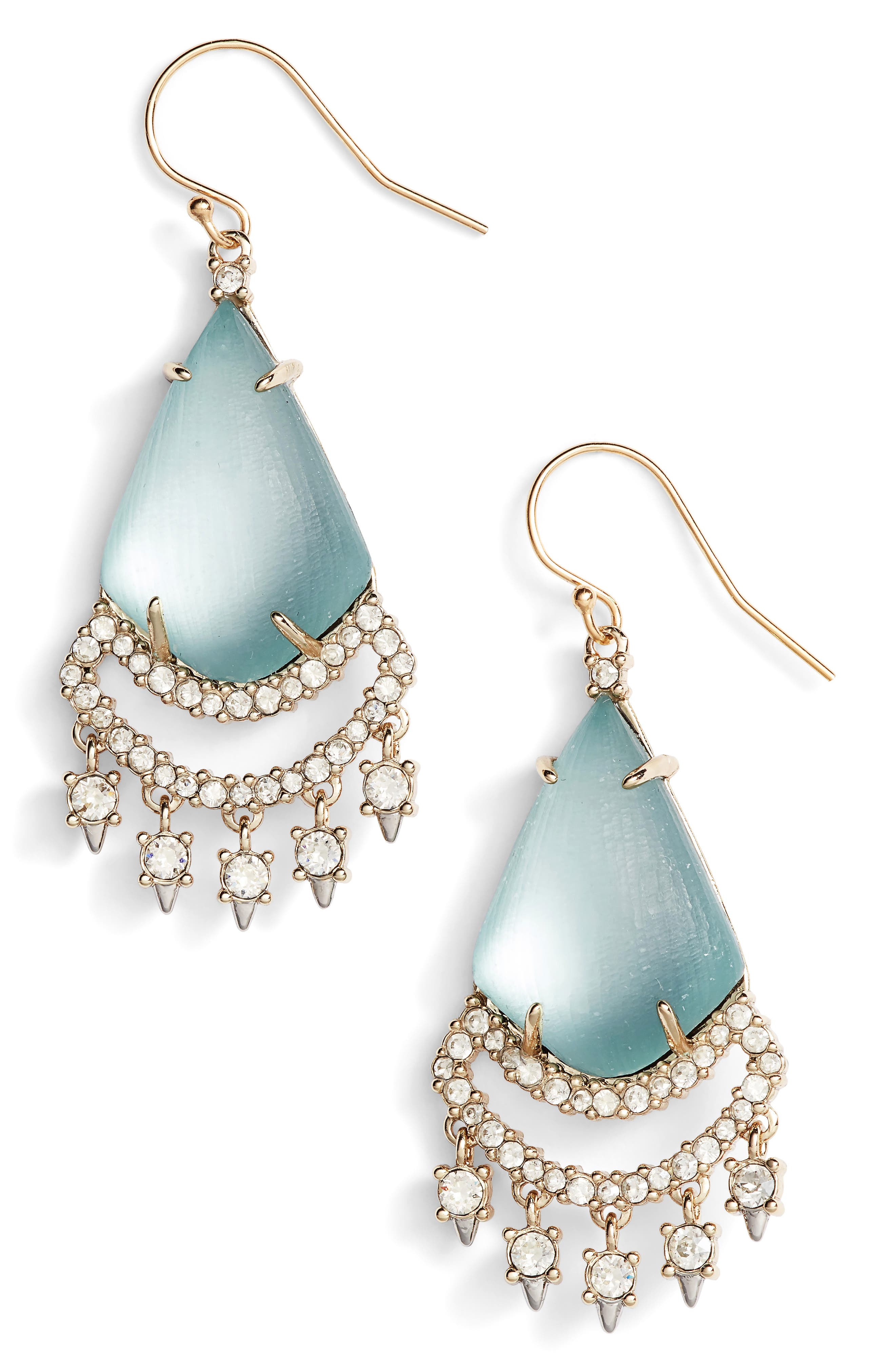 Crystal Lace Lucite<sup>®</sup> Chandelier Earrings,                             Main thumbnail 1, color,                             Grey Blue