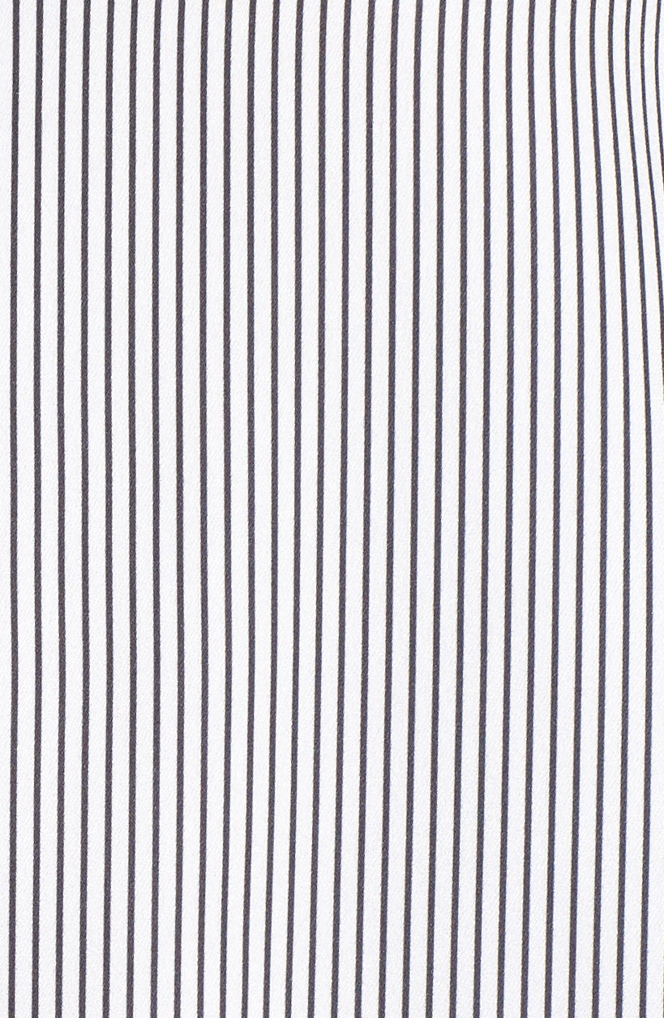 Tie Sleeve Satin Top,                             Alternate thumbnail 5, color,                             White/ Black Maisy Stripe