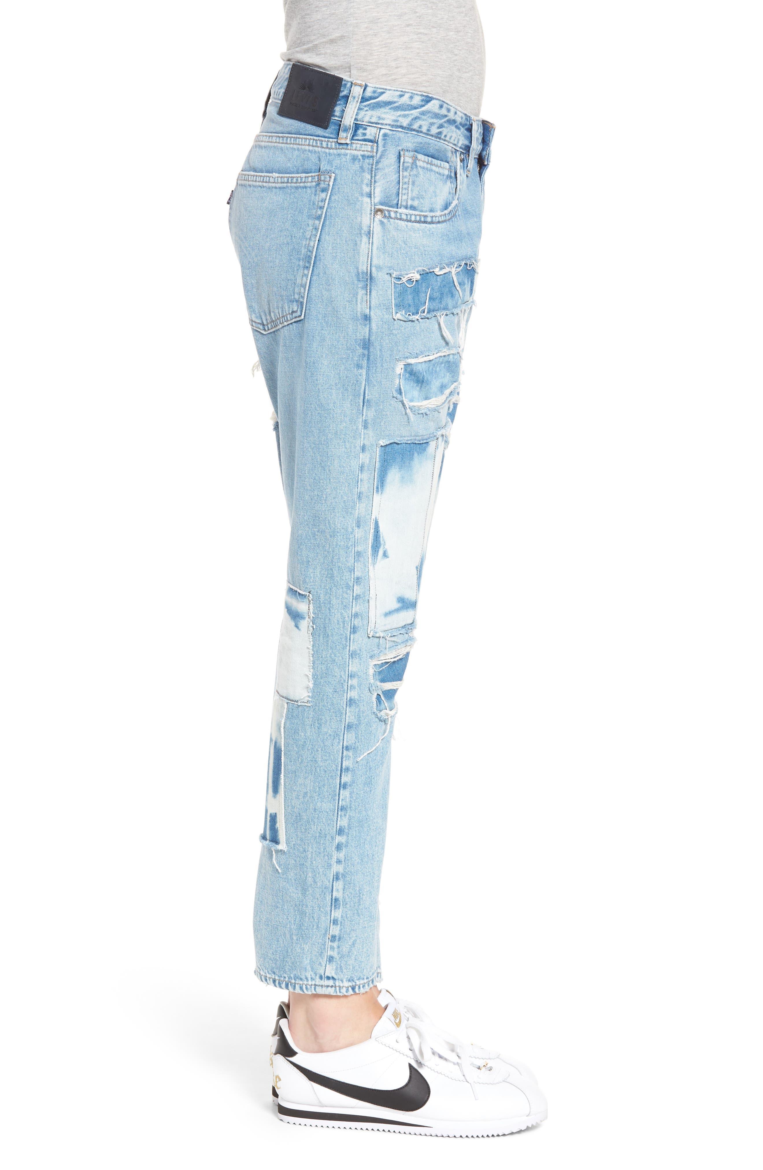 Crush Tapered Jeans,                             Alternate thumbnail 3, color,                             Tidal Wave