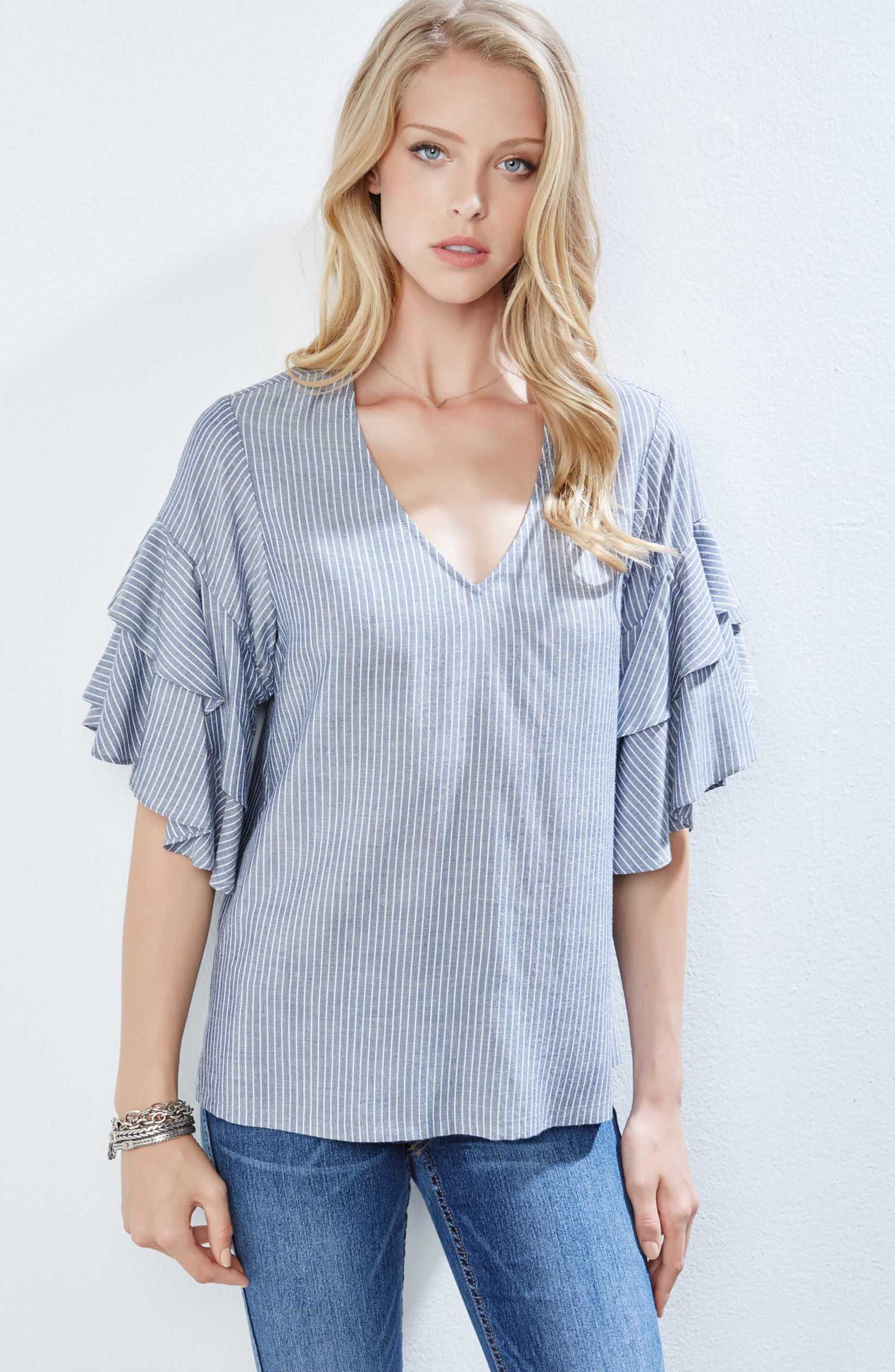 Ruffled Stripe Chambray Top,                             Alternate thumbnail 2, color,                             Striped