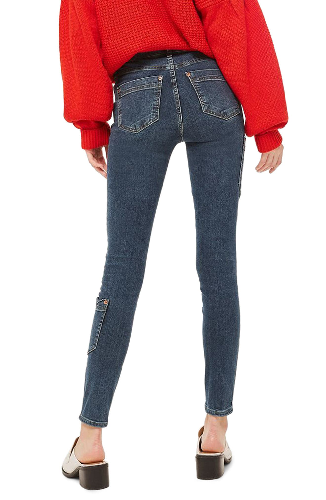 Jamie Utility High Rise Skinny Jeans,                             Alternate thumbnail 2, color,                             Mid Blue Denim