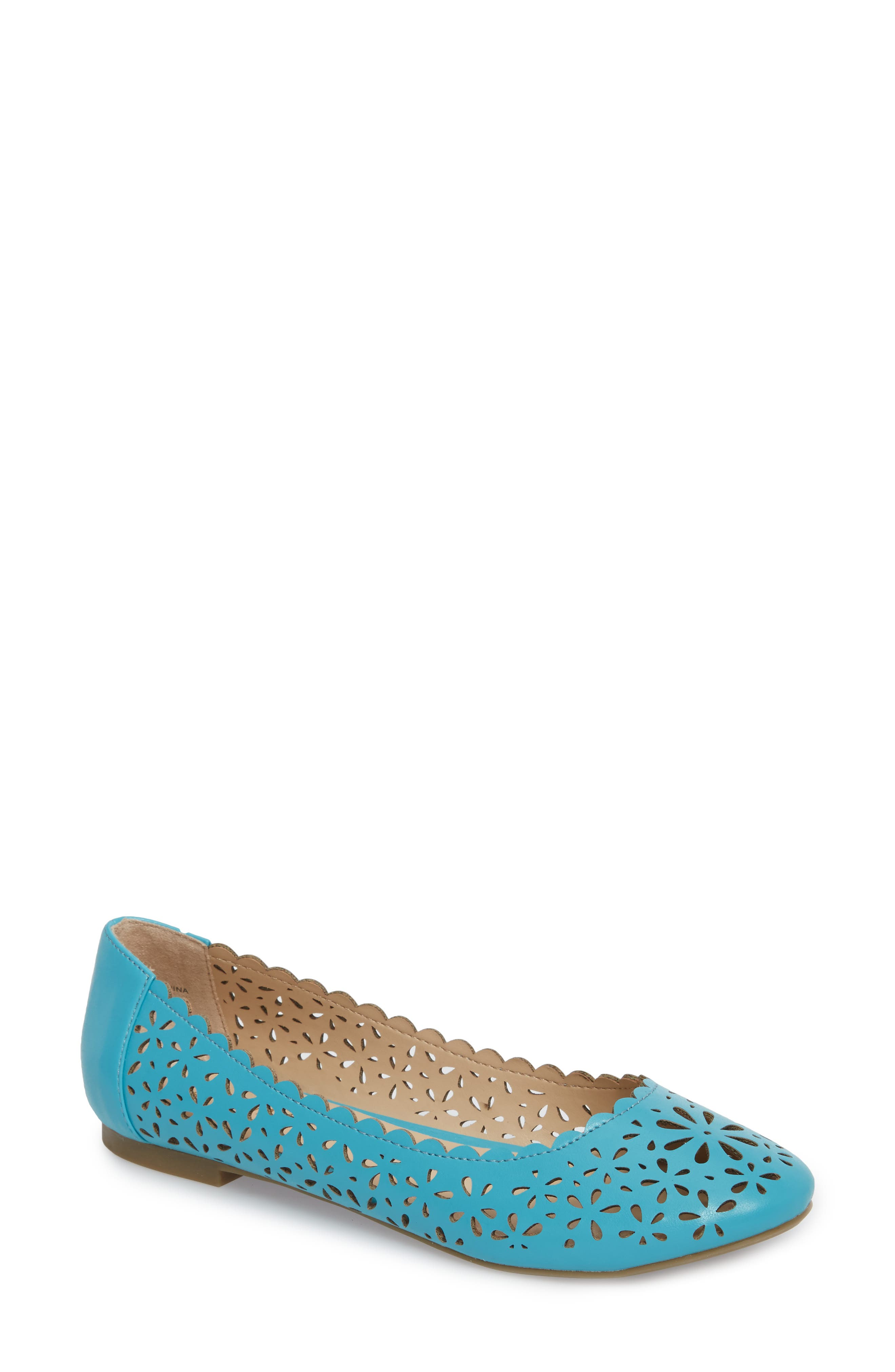 Annora Perforated Flat,                         Main,                         color, Teal Fabric
