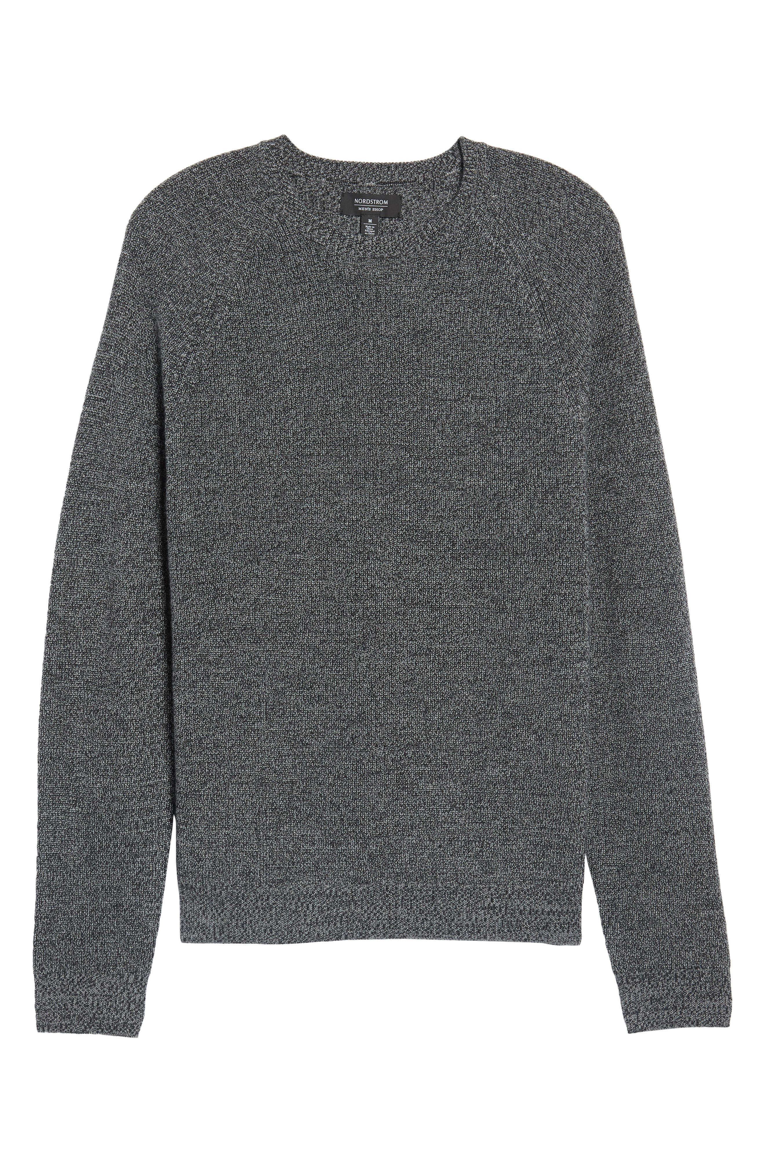 Textured Merino Wool Blend Sweater,                             Main thumbnail 1, color,                             Black Caviar Melange