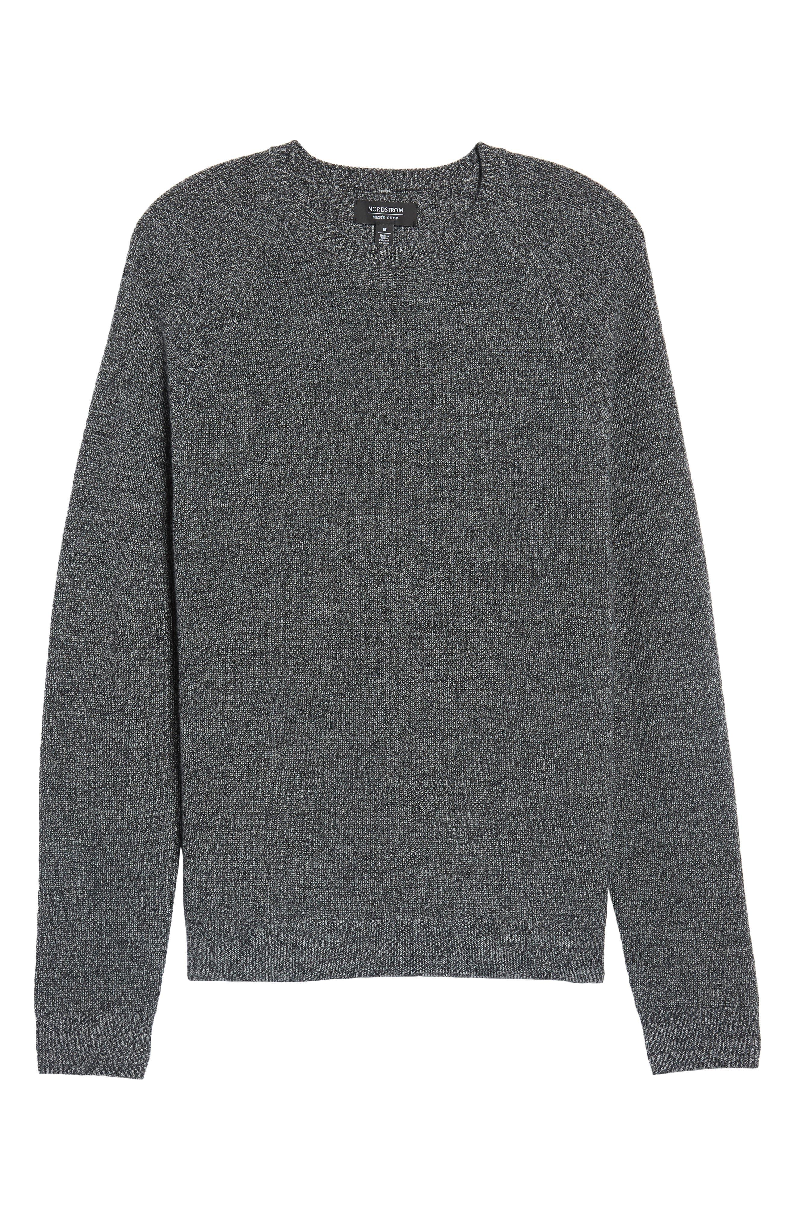 Textured Merino Wool Blend Sweater,                         Main,                         color, Black Caviar Melange