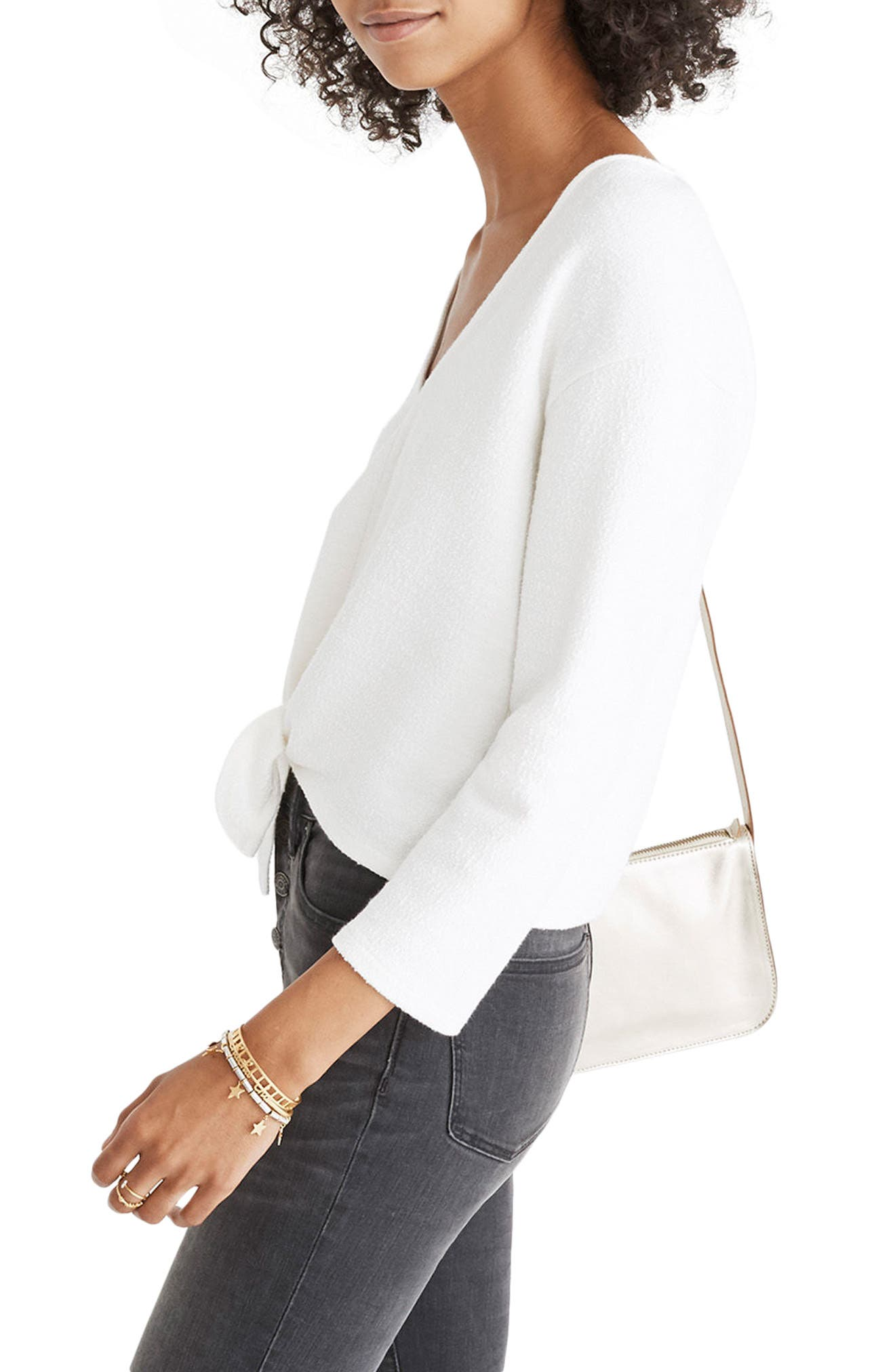 Textured Tie Front Top,                             Main thumbnail 1, color,                             Bright Ivory