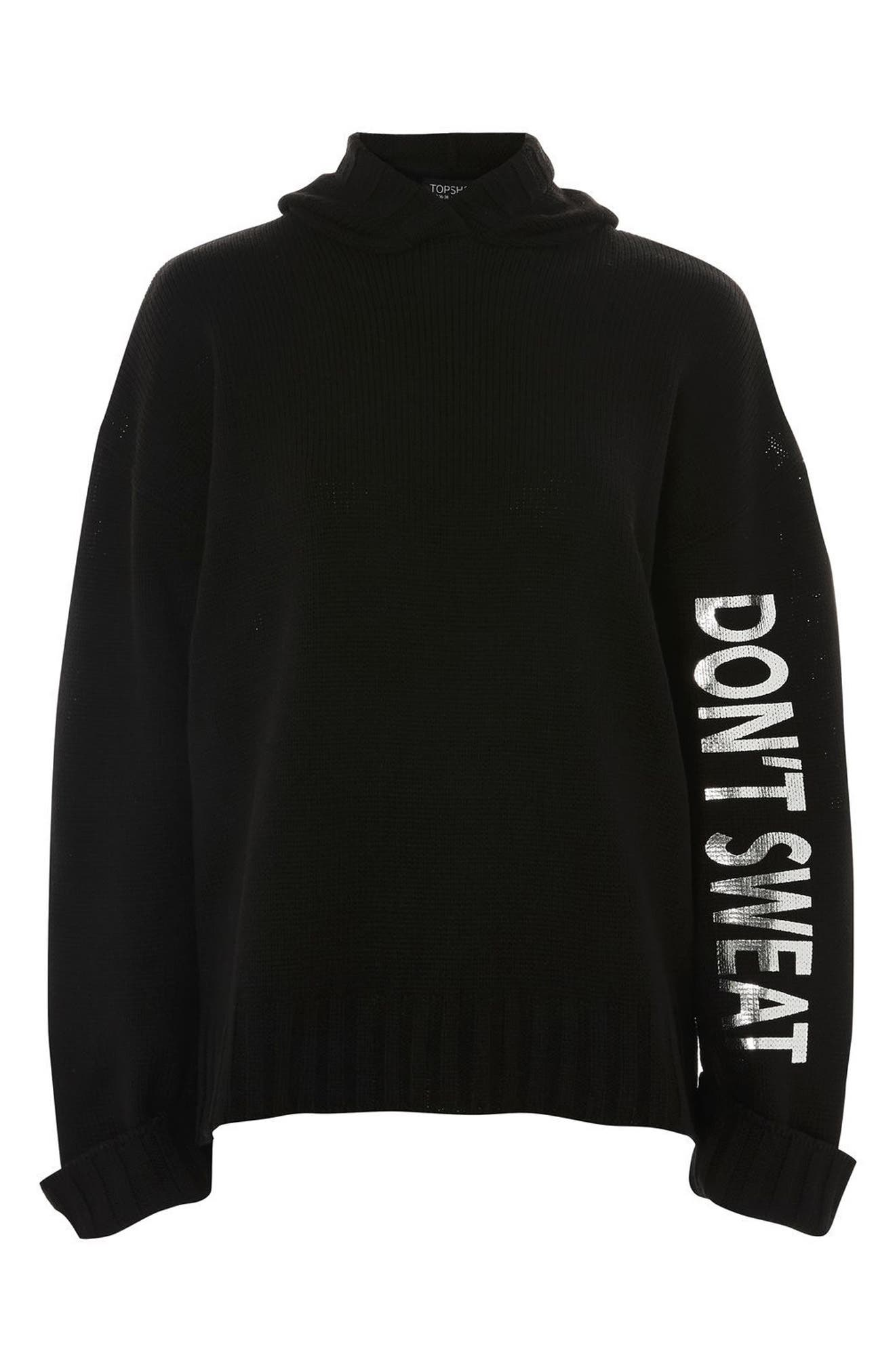 Don't Sweat Knit Hoodie,                             Alternate thumbnail 4, color,                             Black Multi