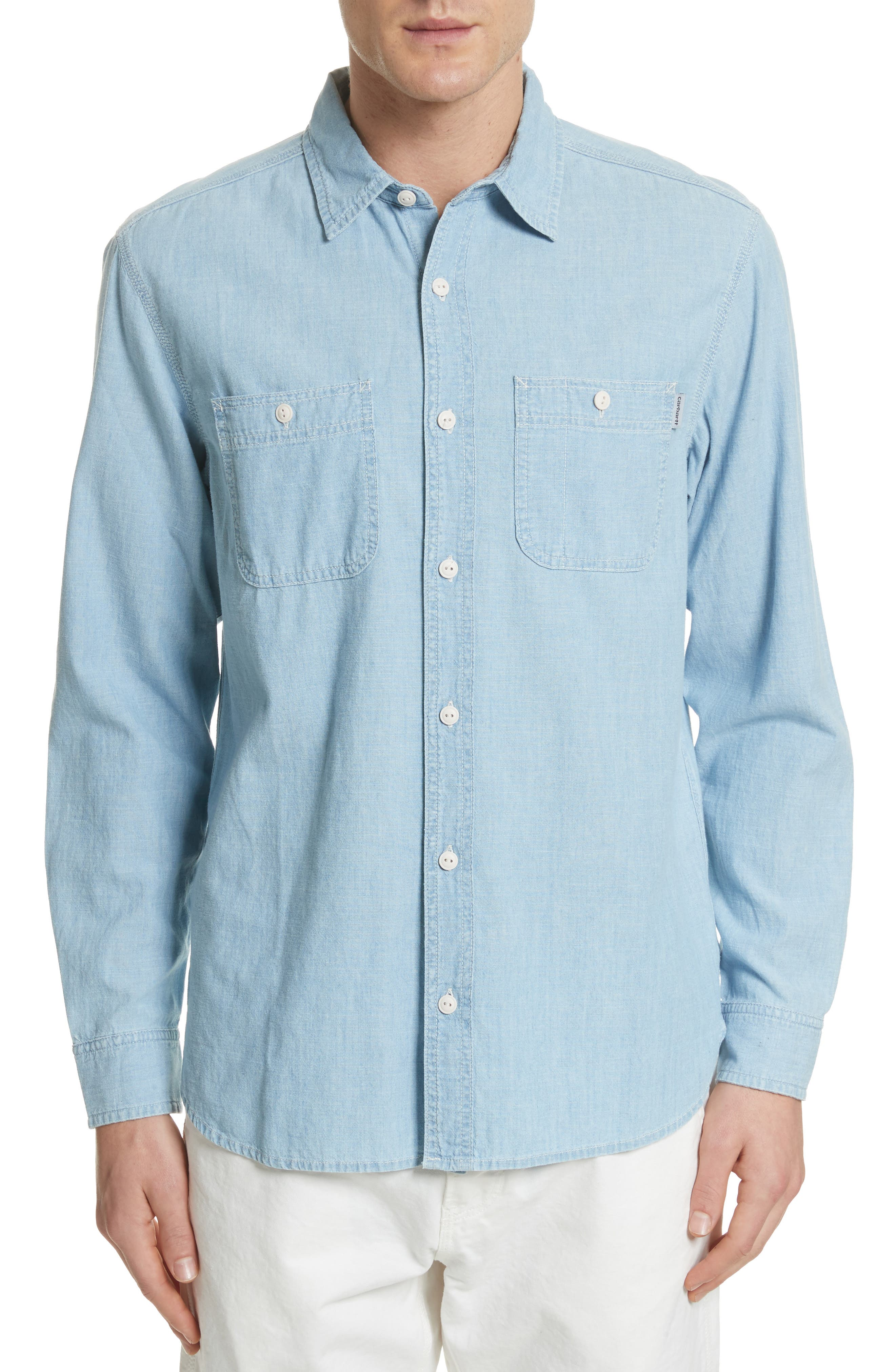 Clink Chambray Shirt,                             Main thumbnail 1, color,                             Blue Stone Washed