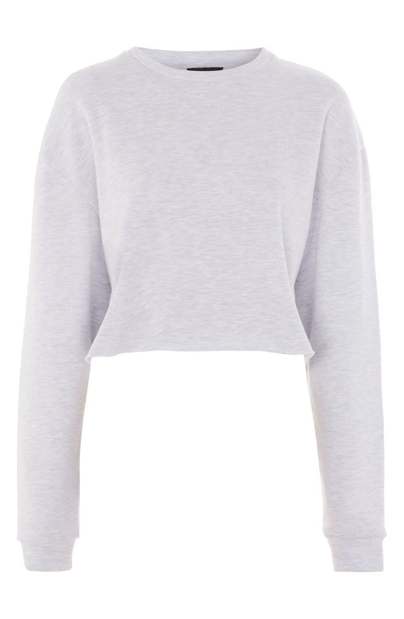 Crop Sweatshirt,                             Alternate thumbnail 4, color,                             Grey Marl