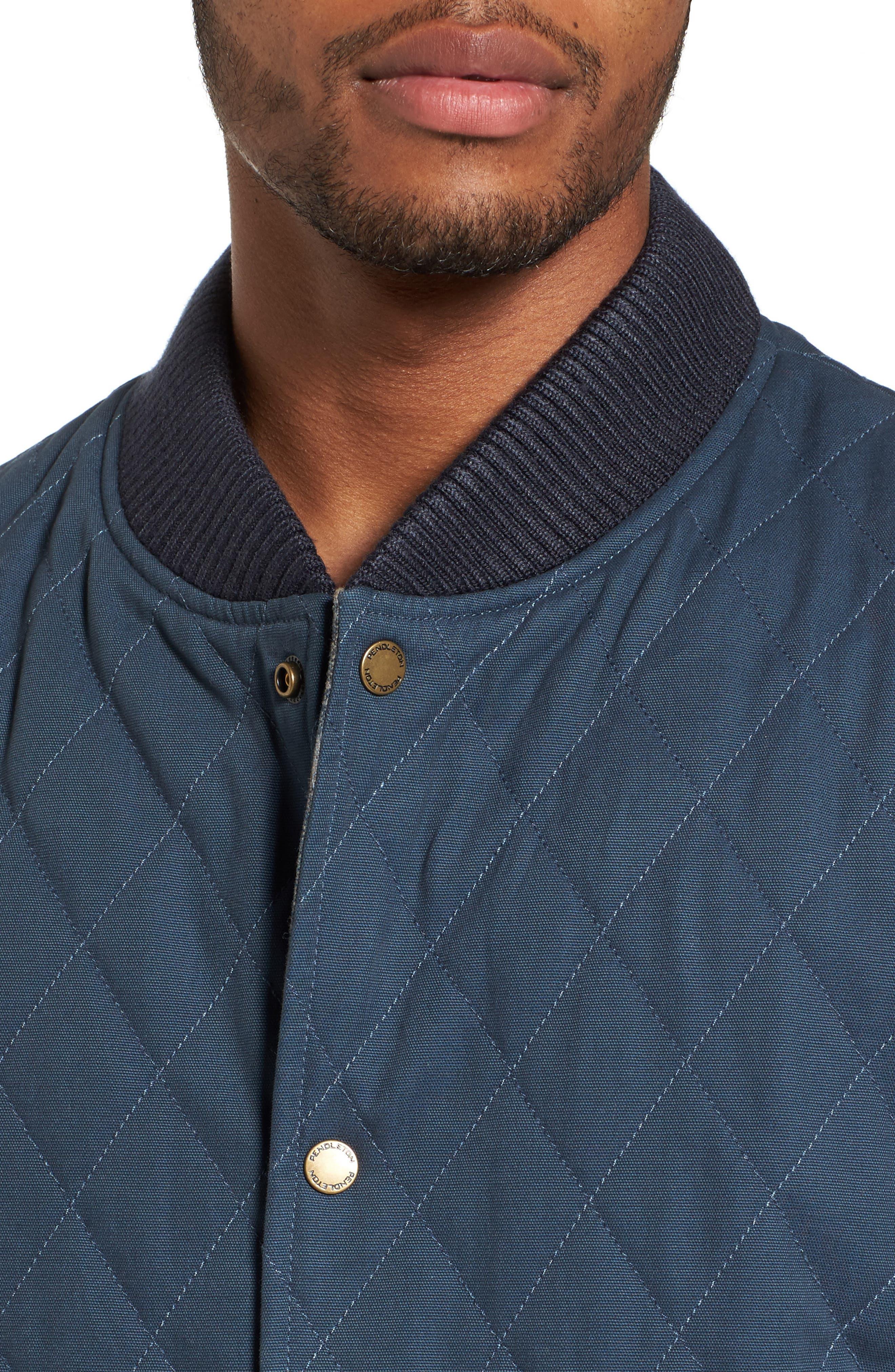 Reversible Canvas Vest,                             Alternate thumbnail 5, color,                             Navy/ Indigo Plaid