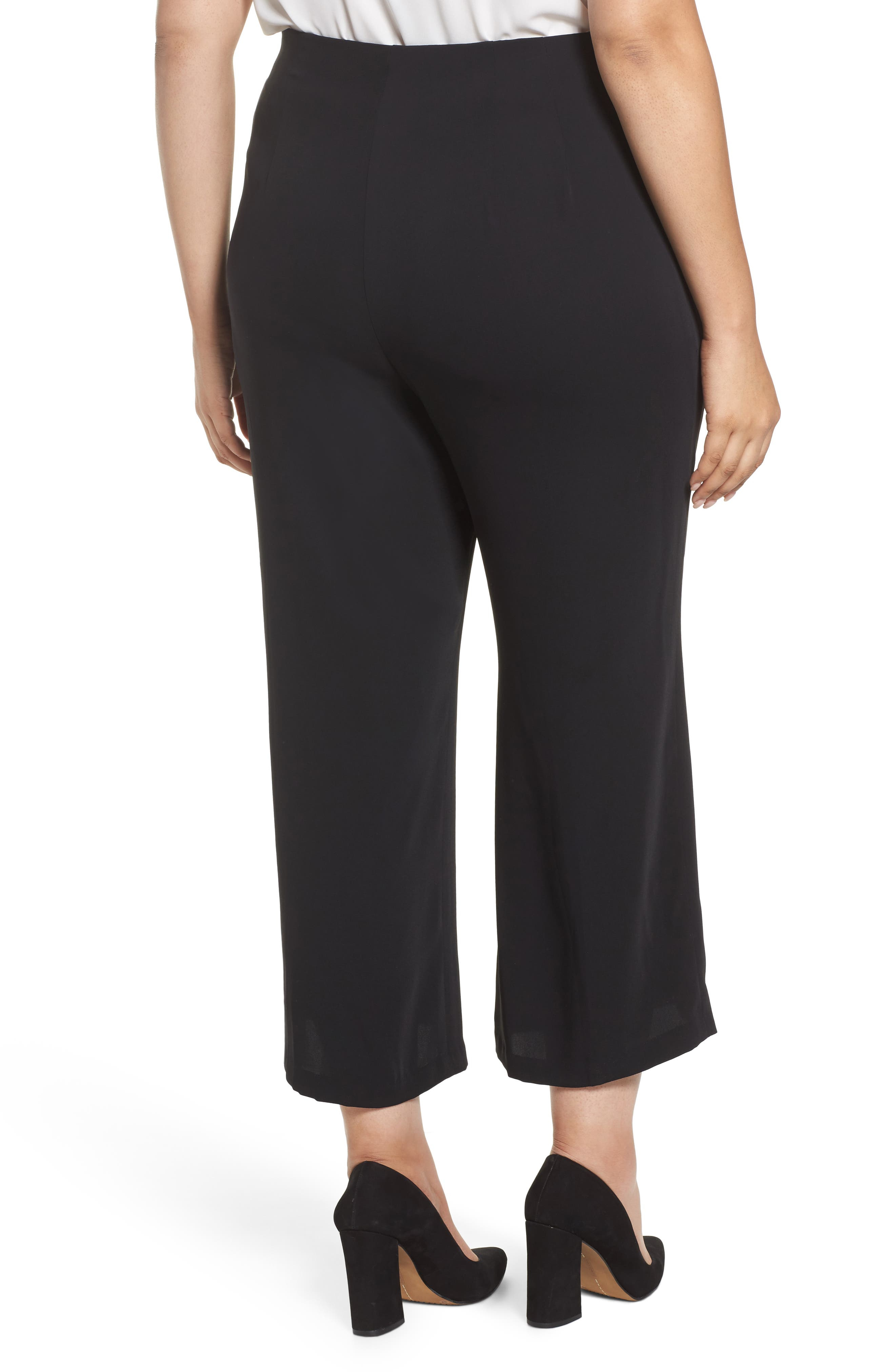 Wide Leg Ankle Pants,                             Alternate thumbnail 2, color,                             Black