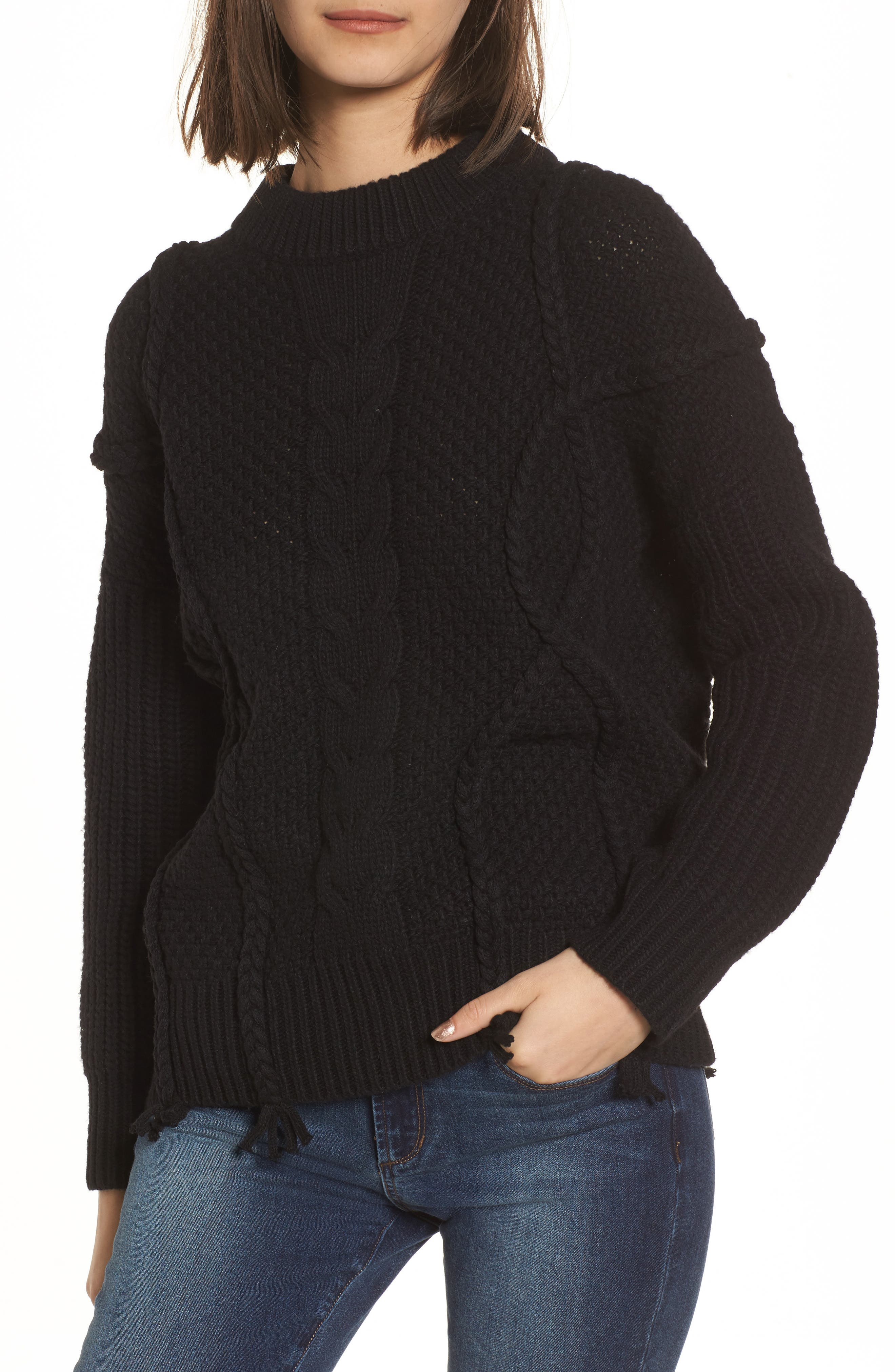 Plaited Cable Knit Sweater,                         Main,                         color, Black