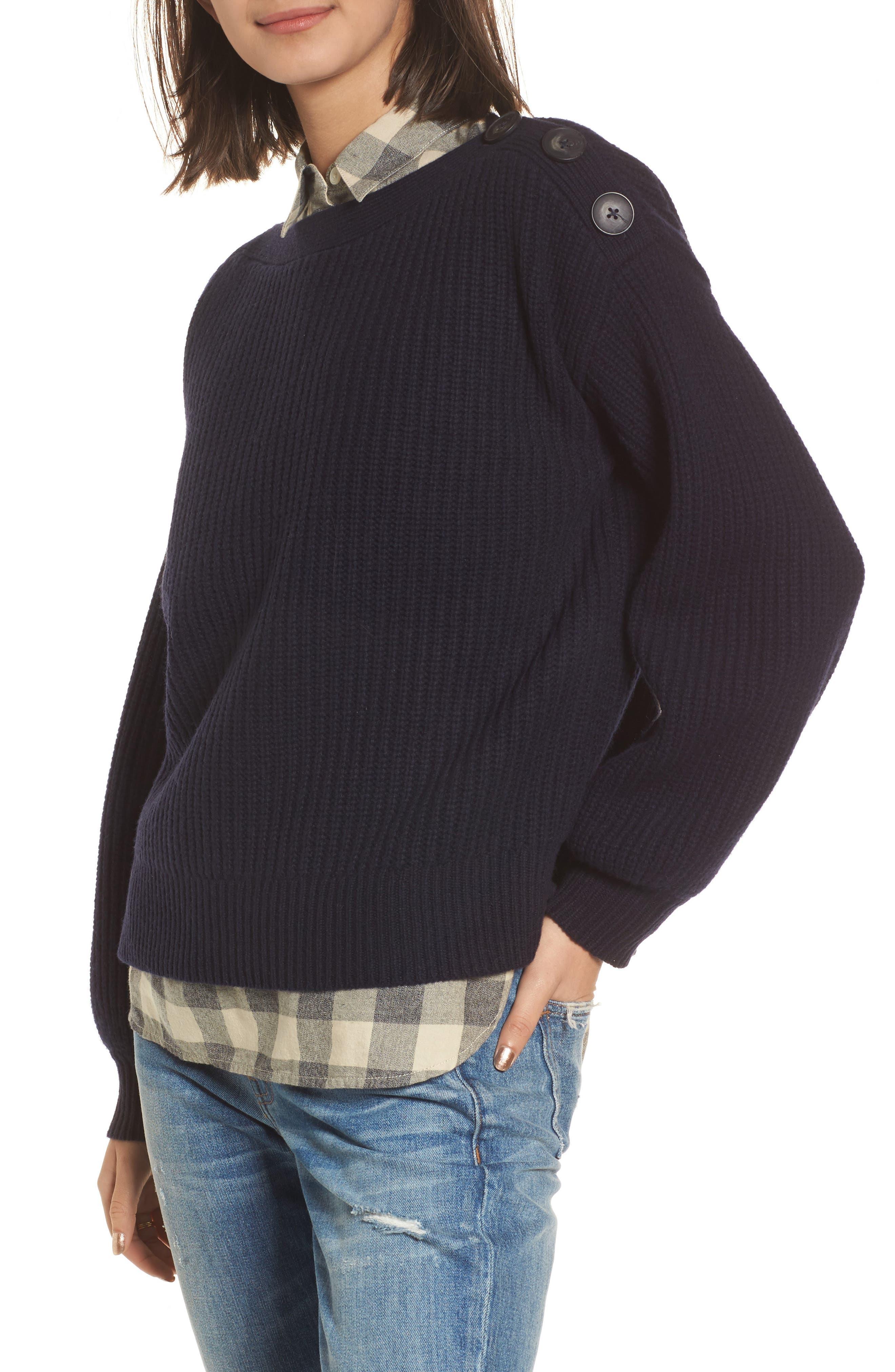 Madewell Boatneck Bubble Sleeve Sweater