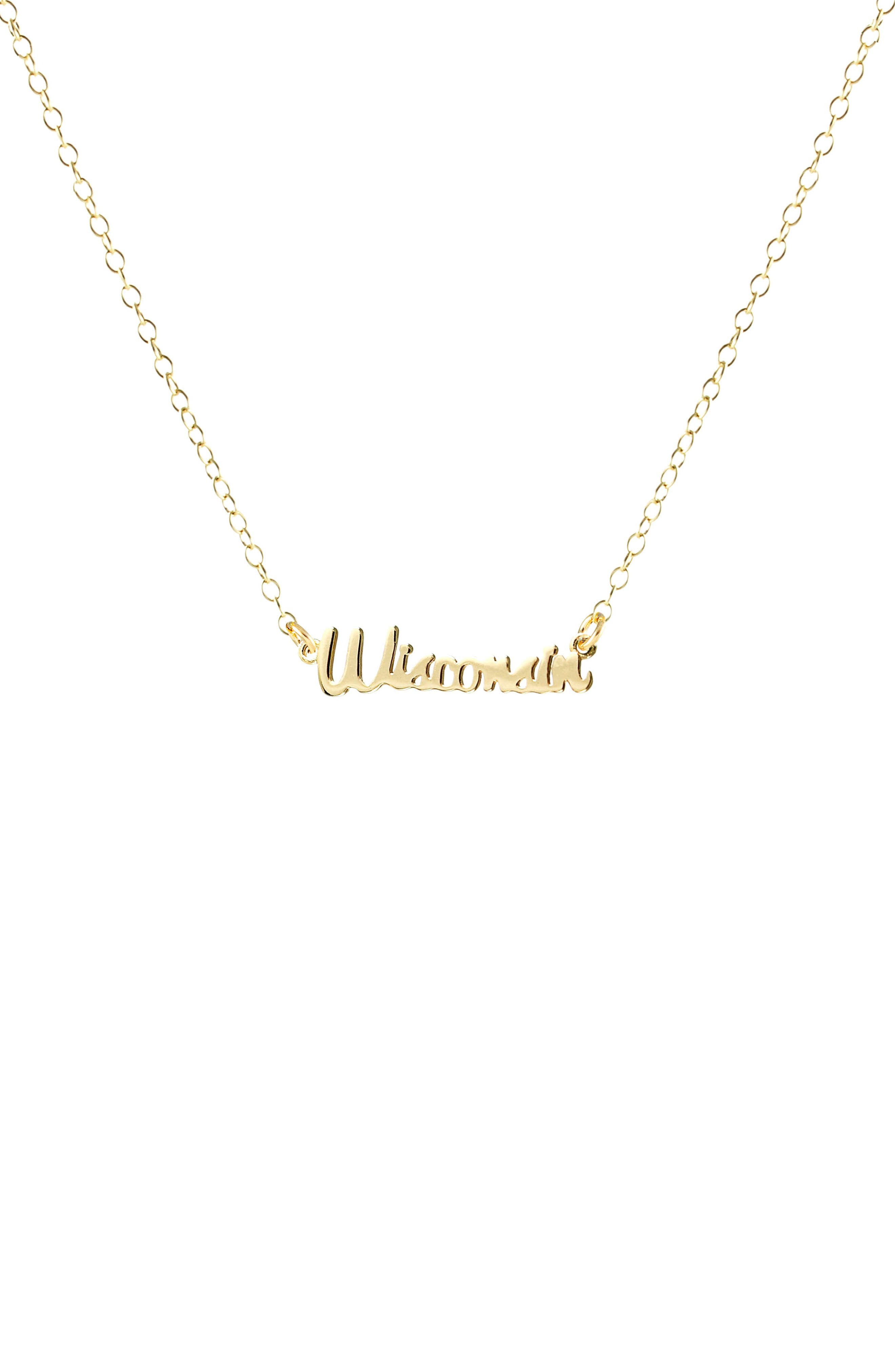 State Script Charm Necklace,                         Main,                         color, Wisconsin - Gold