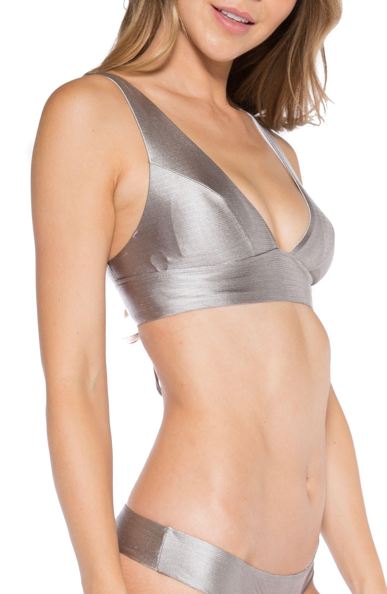 Selena Lace-Up Back Bikini Top,                             Alternate thumbnail 3, color,                             Sand Dollar