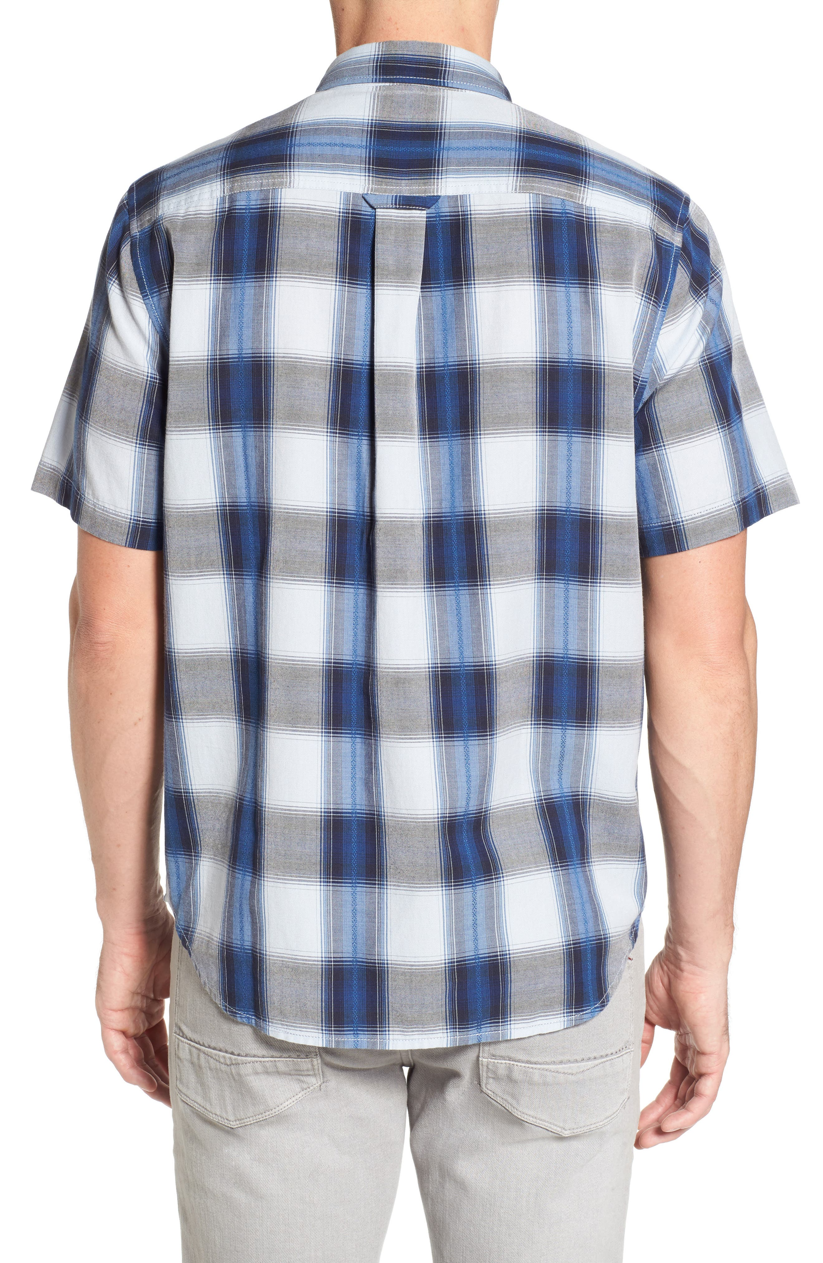Biscayne Plaid Regular Fit Sport Shirt,                             Alternate thumbnail 2, color,                             Kingdom Blue