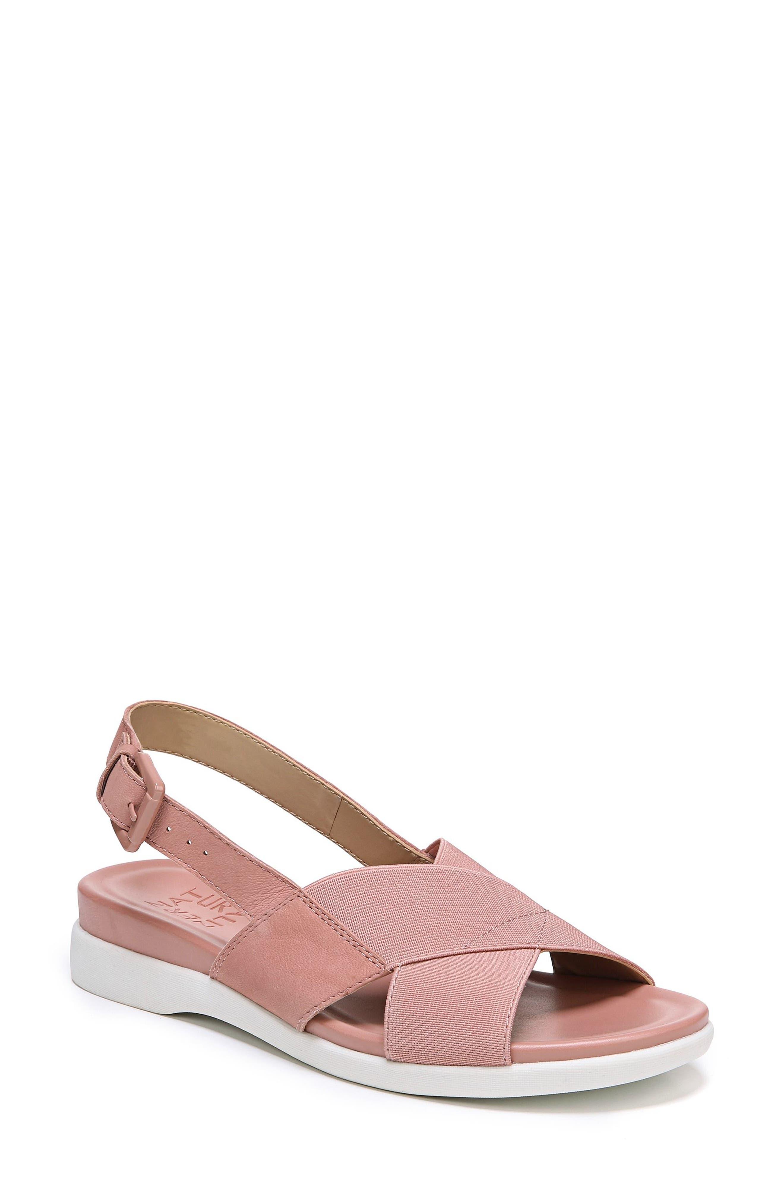 Eliza Wedge Sandal,                         Main,                         color, Pink Nubuck Leather
