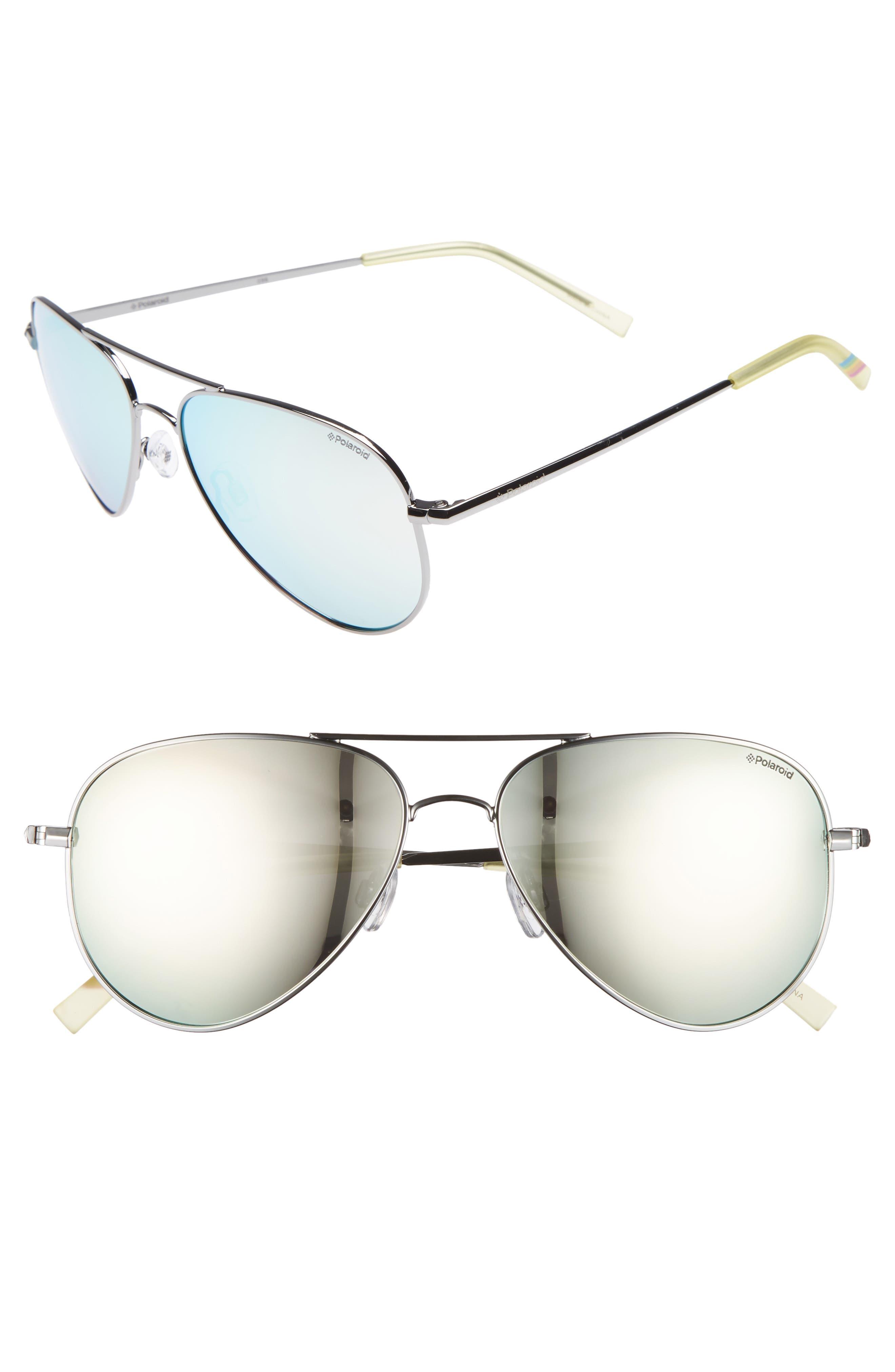 3736da157bb Polaroid 56Mm Polarized Aviator Sunglasses - Ruthenium  Grey  Silver