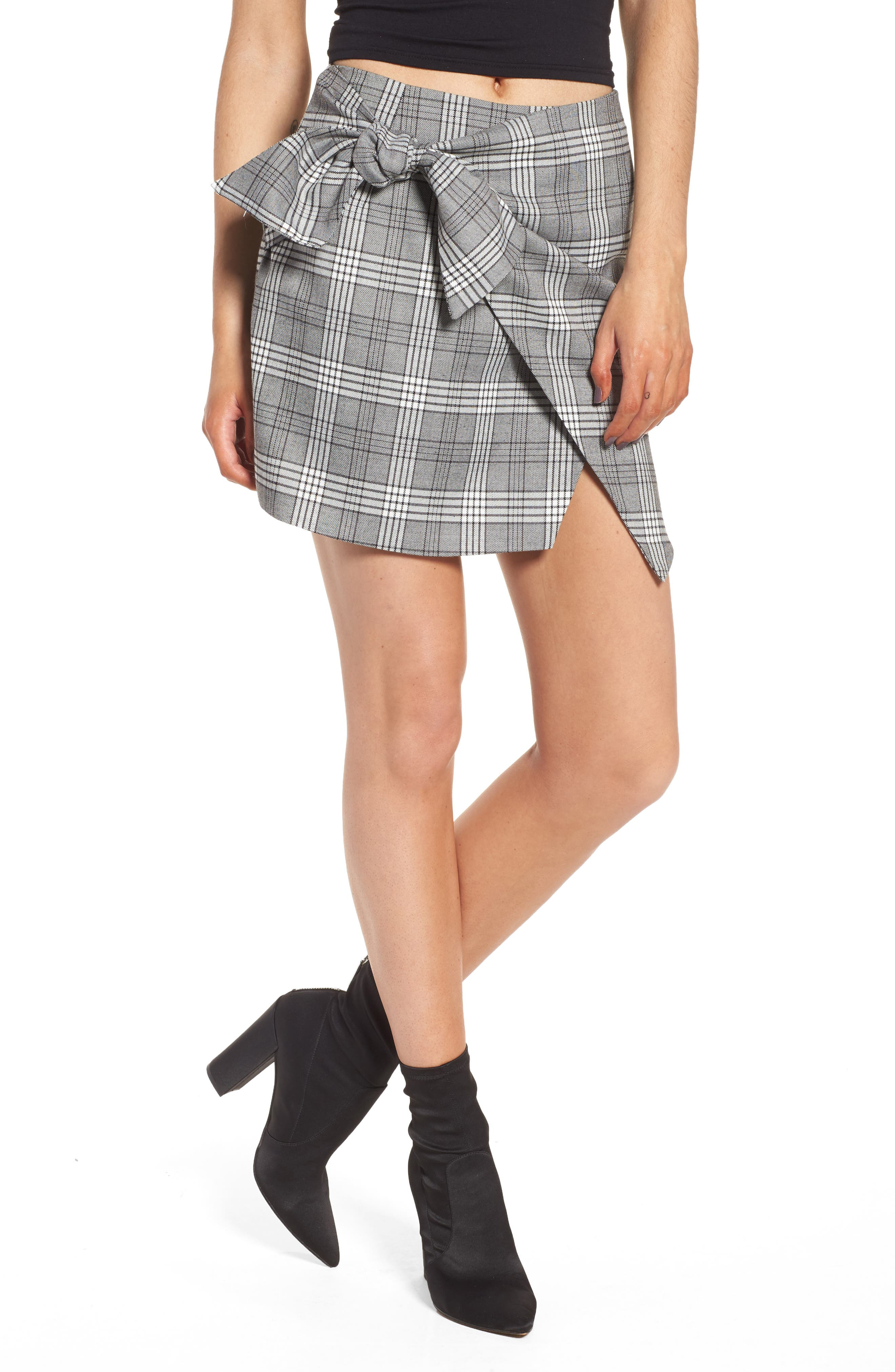 Alternate Image 1 Selected - Lovers + Friends Julie Faux Wrap Plaid Skirt