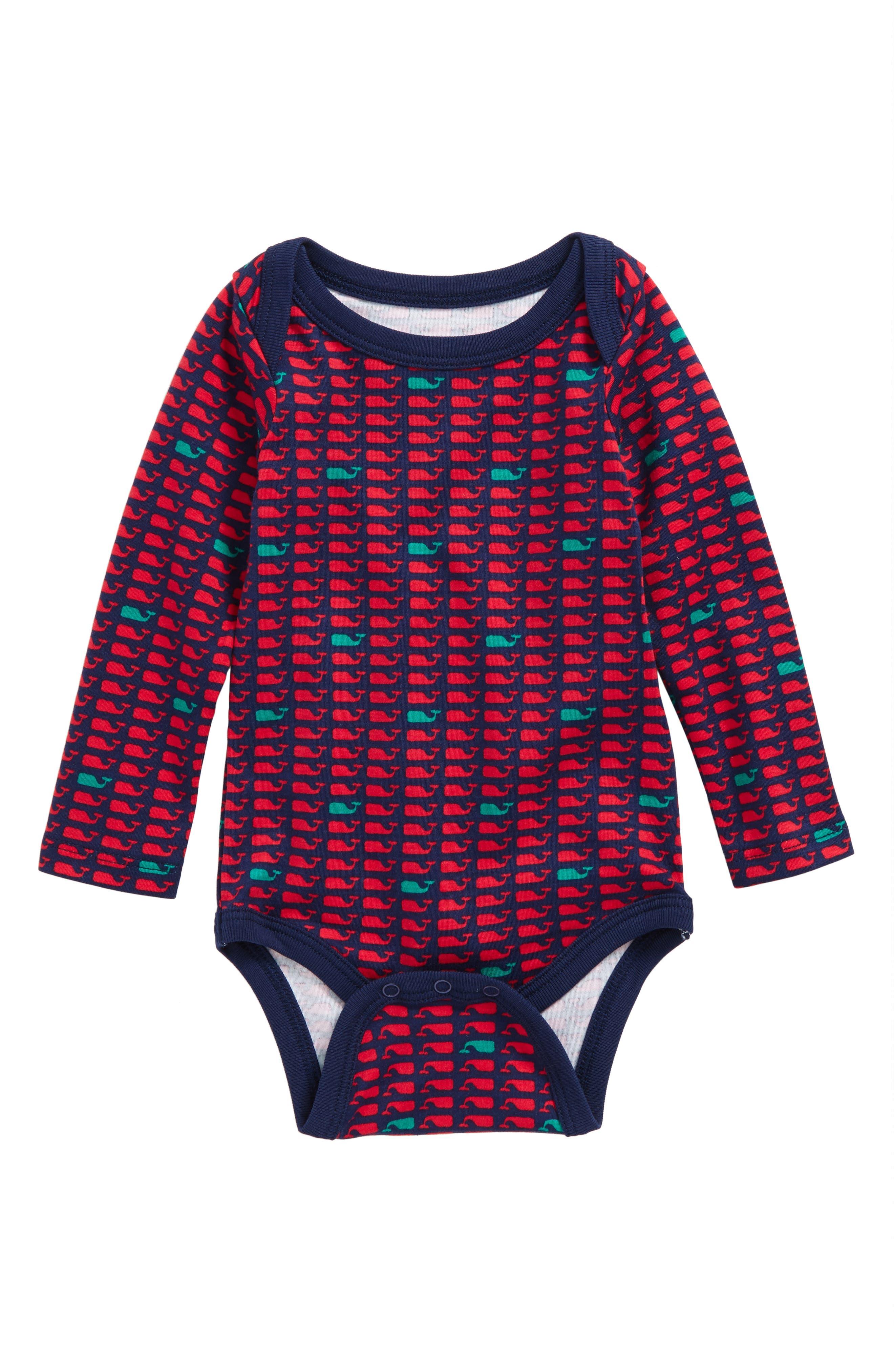 Main Image - vineyard vines Holiday Whale Bodysuit (Baby Girls)