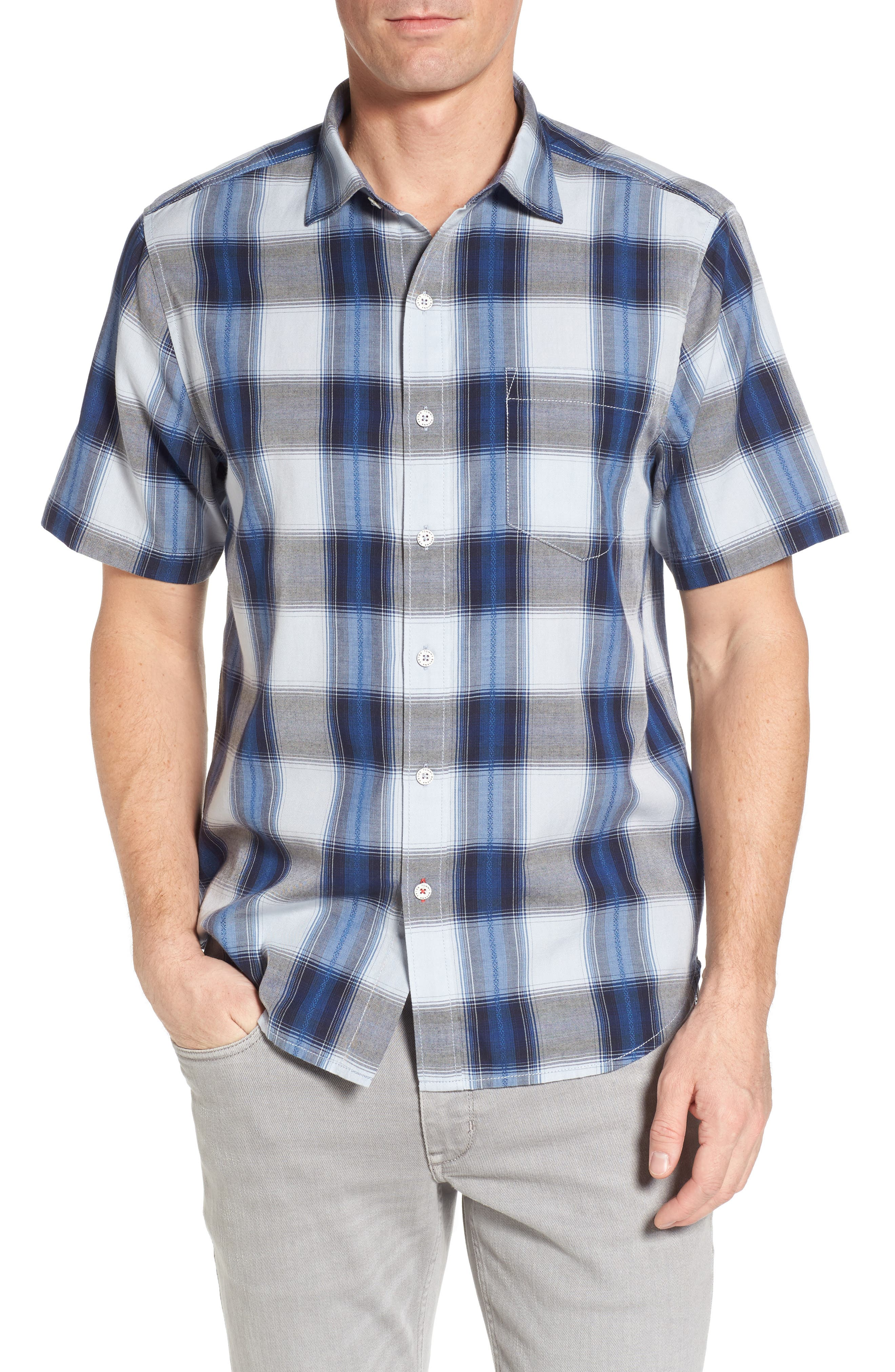Biscayne Plaid Regular Fit Sport Shirt,                             Main thumbnail 1, color,                             Kingdom Blue