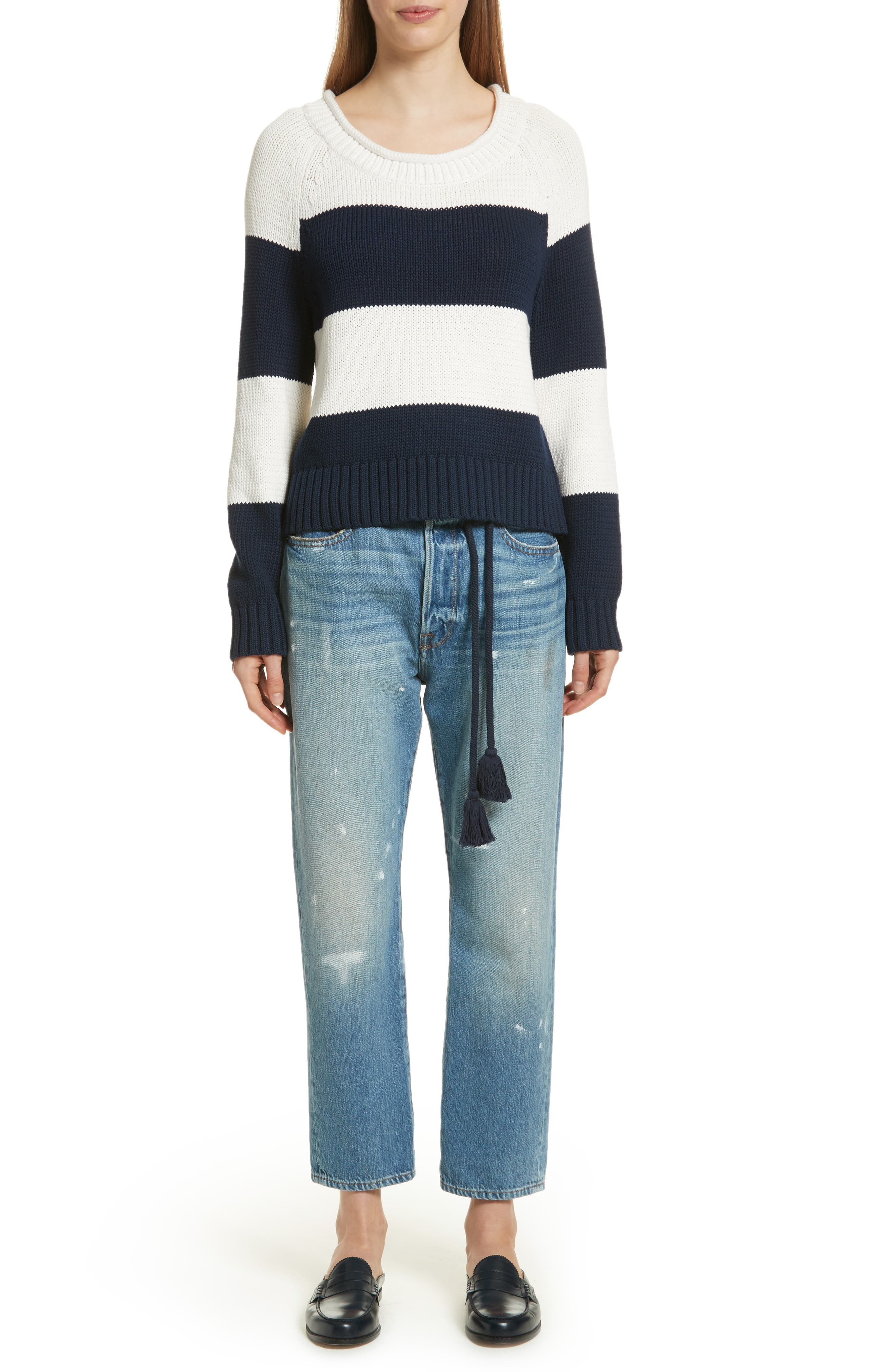 Stripe Cotton Blend Sweater,                             Alternate thumbnail 8, color,                             Off White/ Navy Stripe