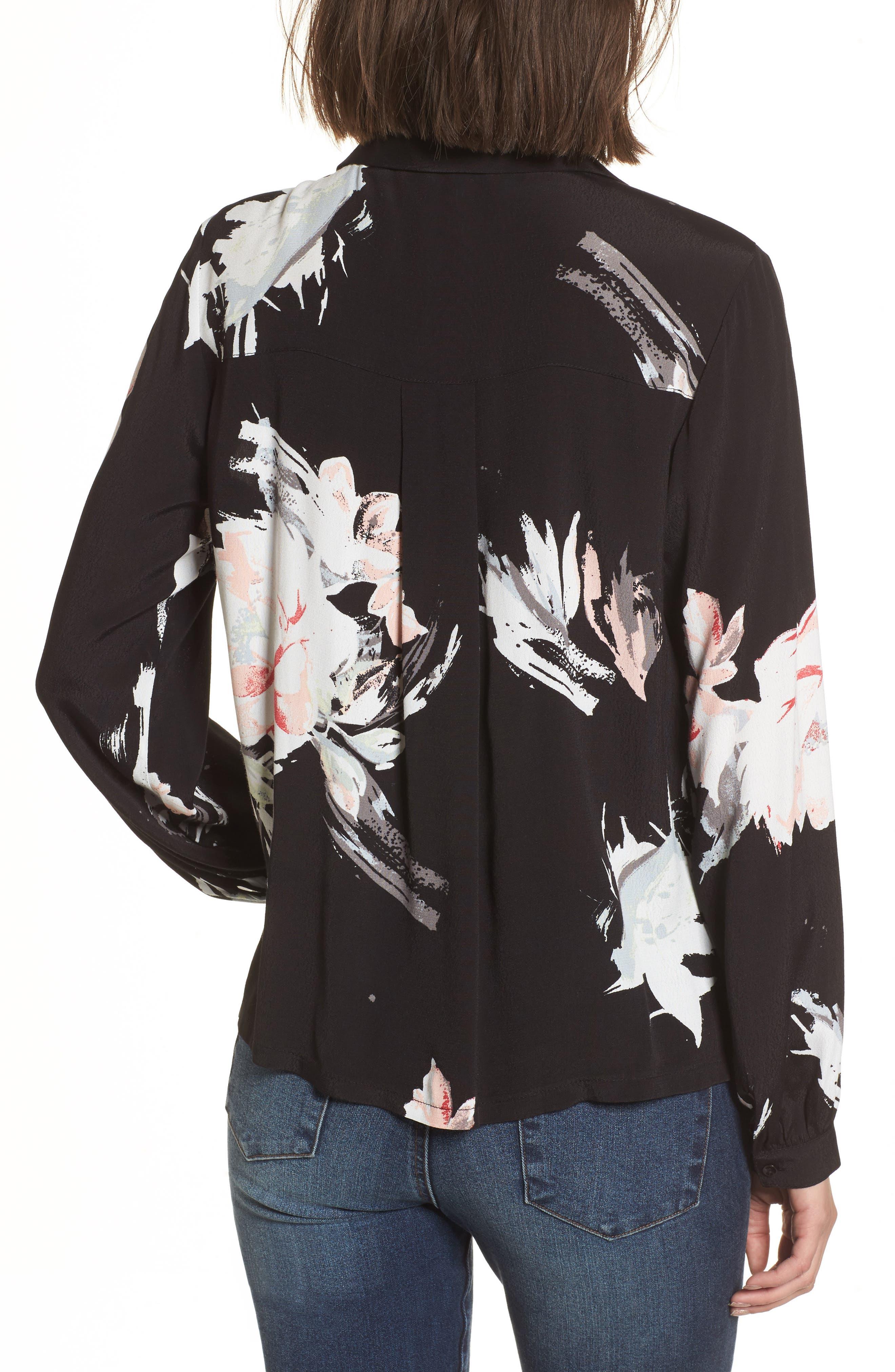 Notch Collar Print Blouse,                             Alternate thumbnail 2, color,                             Black Fierce Edge Floral
