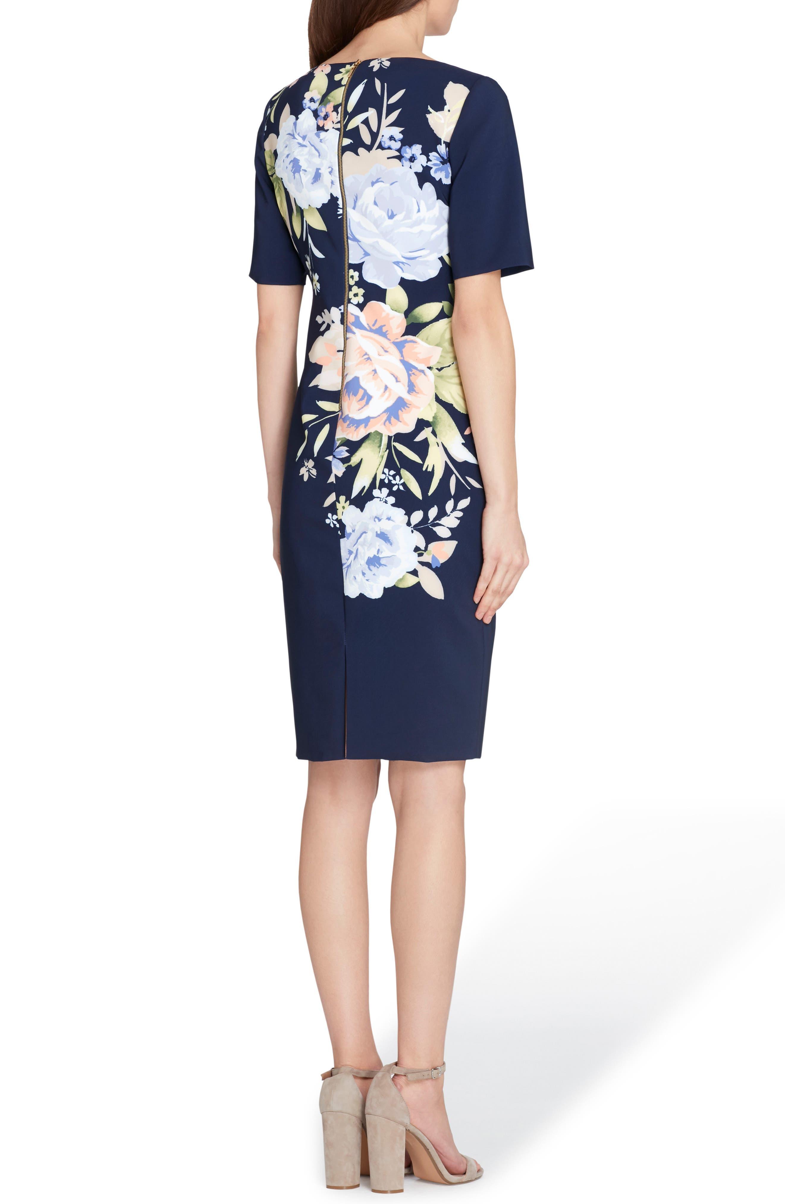 Floral Scuba Sheath Dress,                             Alternate thumbnail 2, color,                             Navy/ Lilac/ Peach