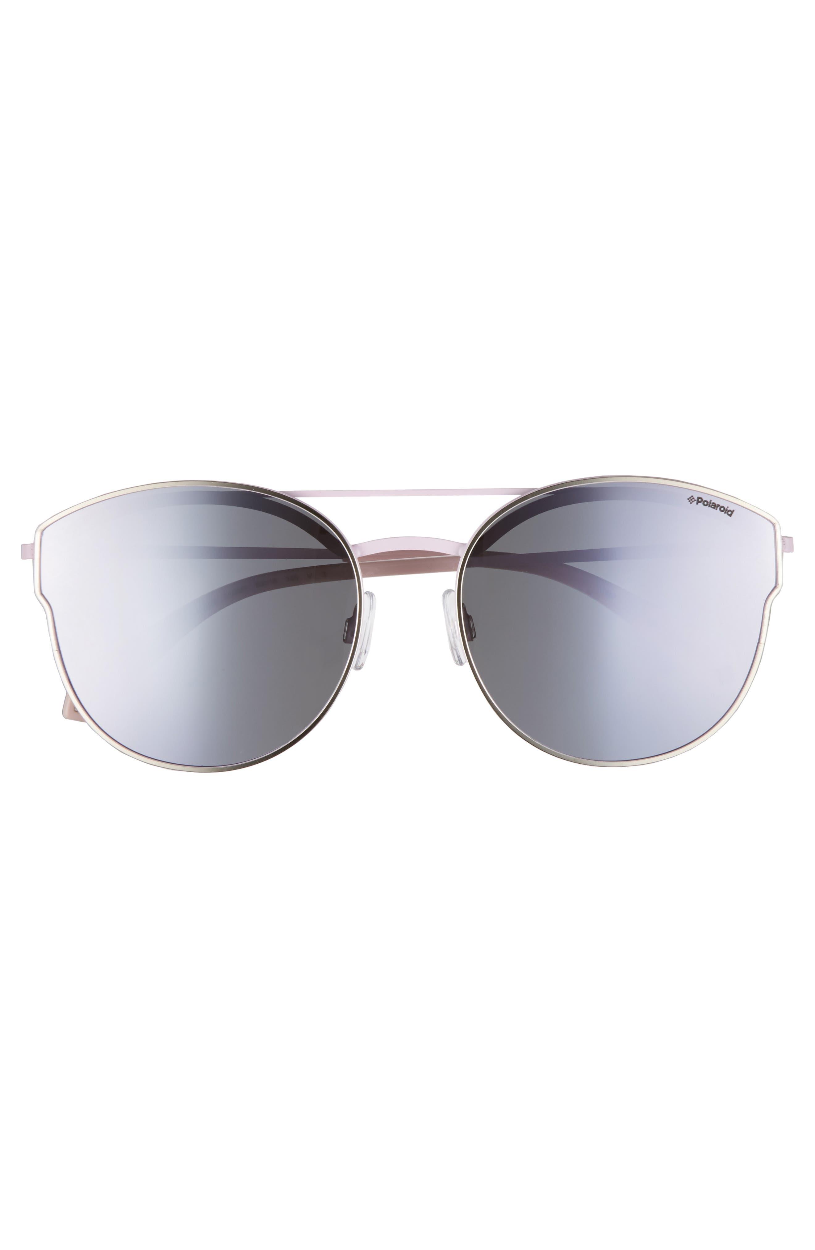 60mm Polarized Round Aviator Sunglasses,                             Alternate thumbnail 2, color,                             Light Gold