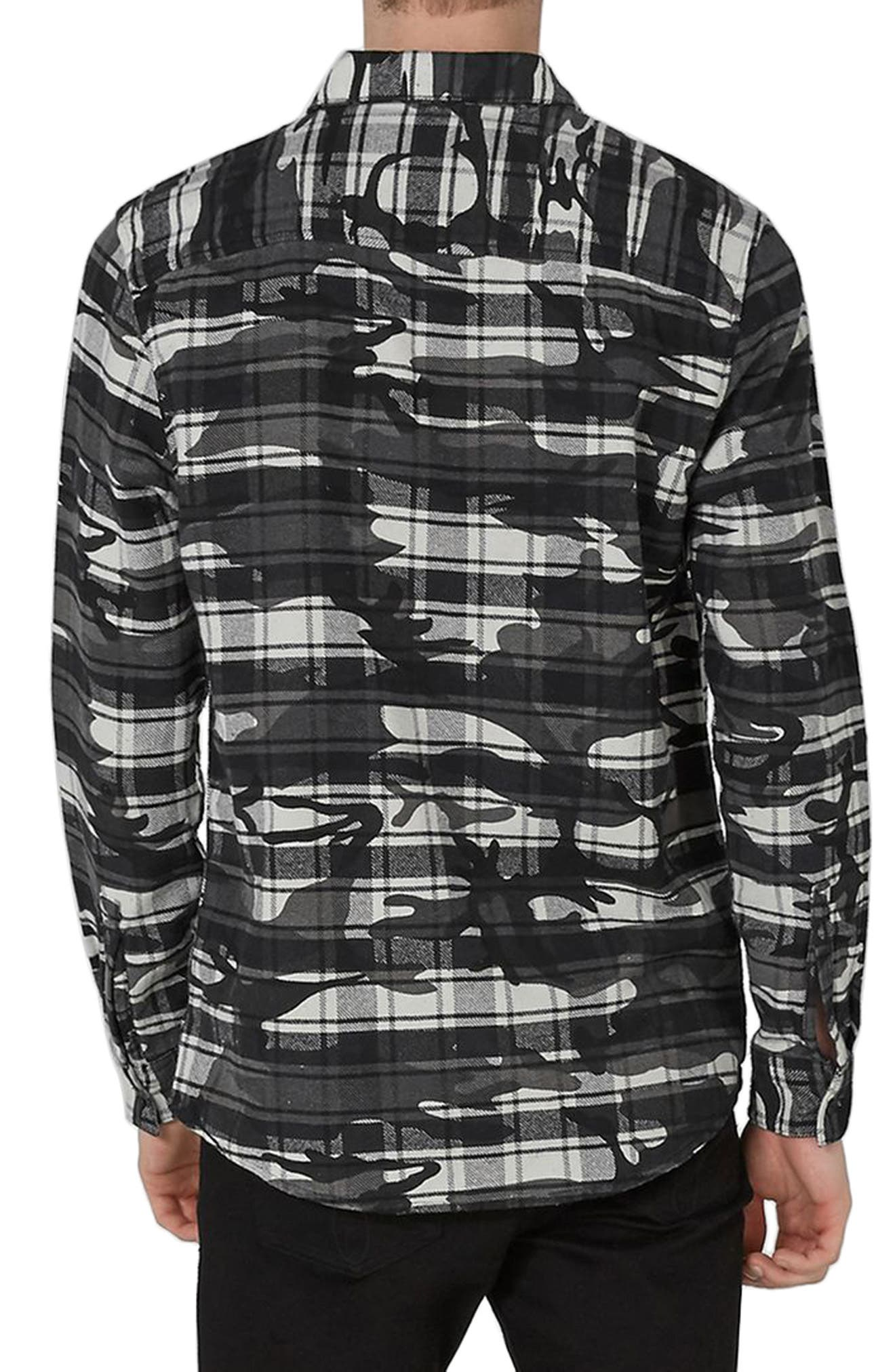 Camo Print Check Shirt,                             Alternate thumbnail 2, color,                             Dark Grey Multi