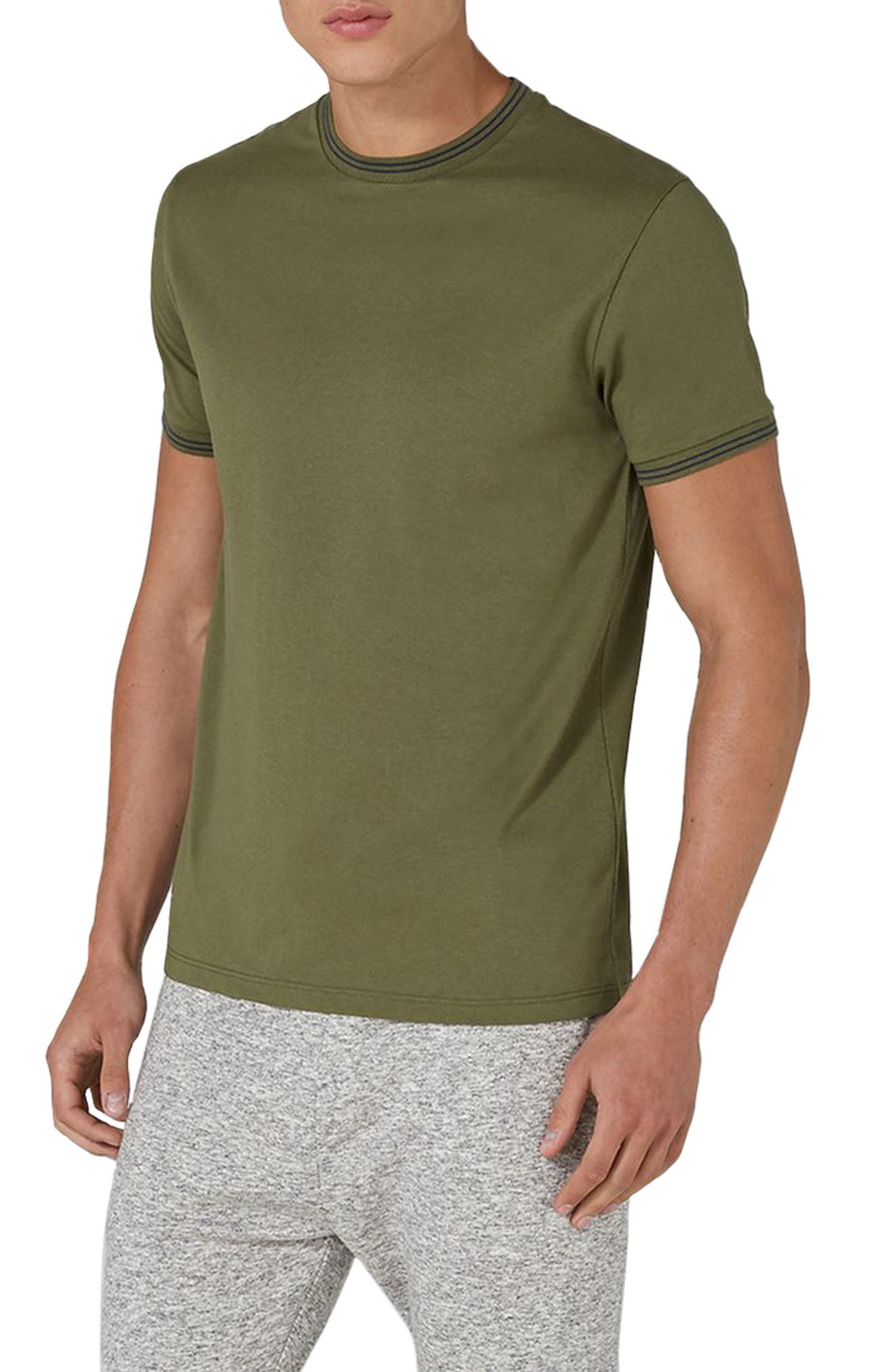 Stripe Muscle T-Shirt,                         Main,                         color, Olive