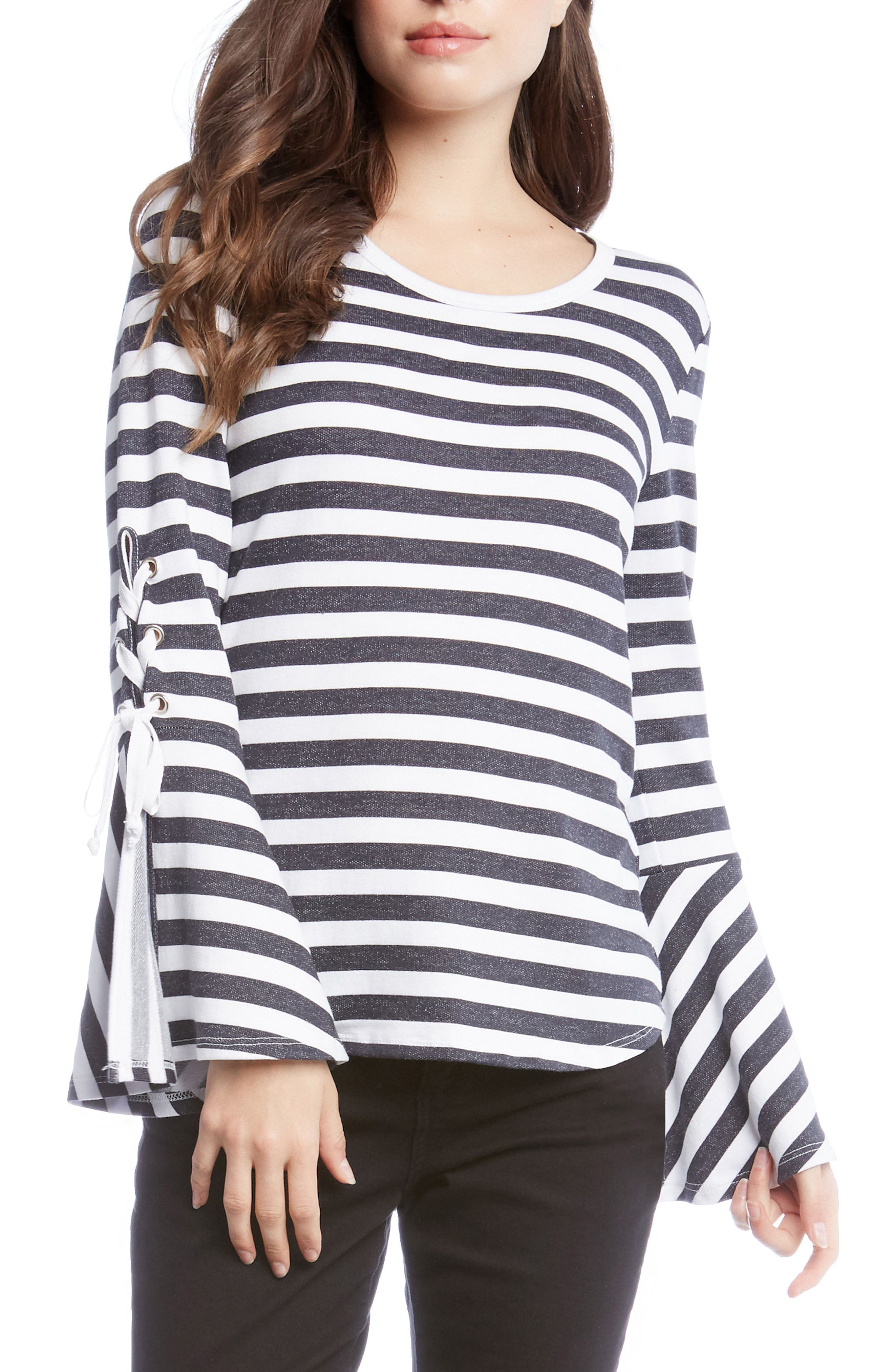 Stripe Lace-Up Sleeve Top,                         Main,                         color, Striped