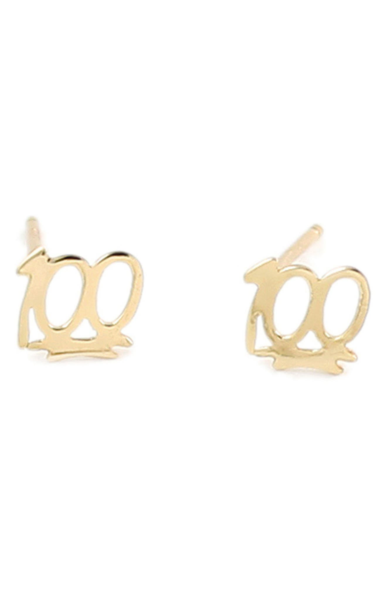 100 Stud Earrings,                         Main,                         color, Gold