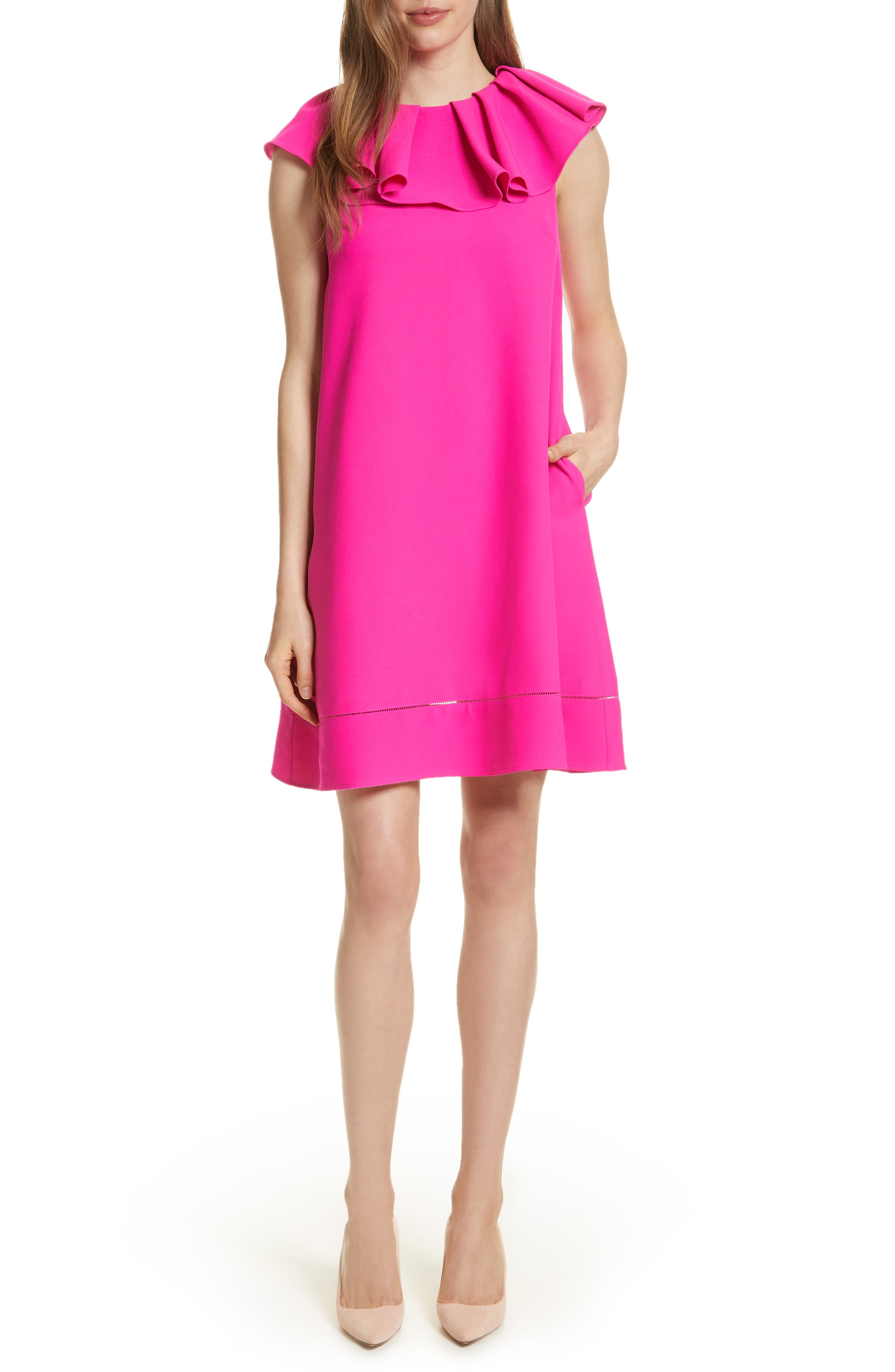Alternate Image 1 Selected - Ted Baker London Ruffled Neck Shift Dress