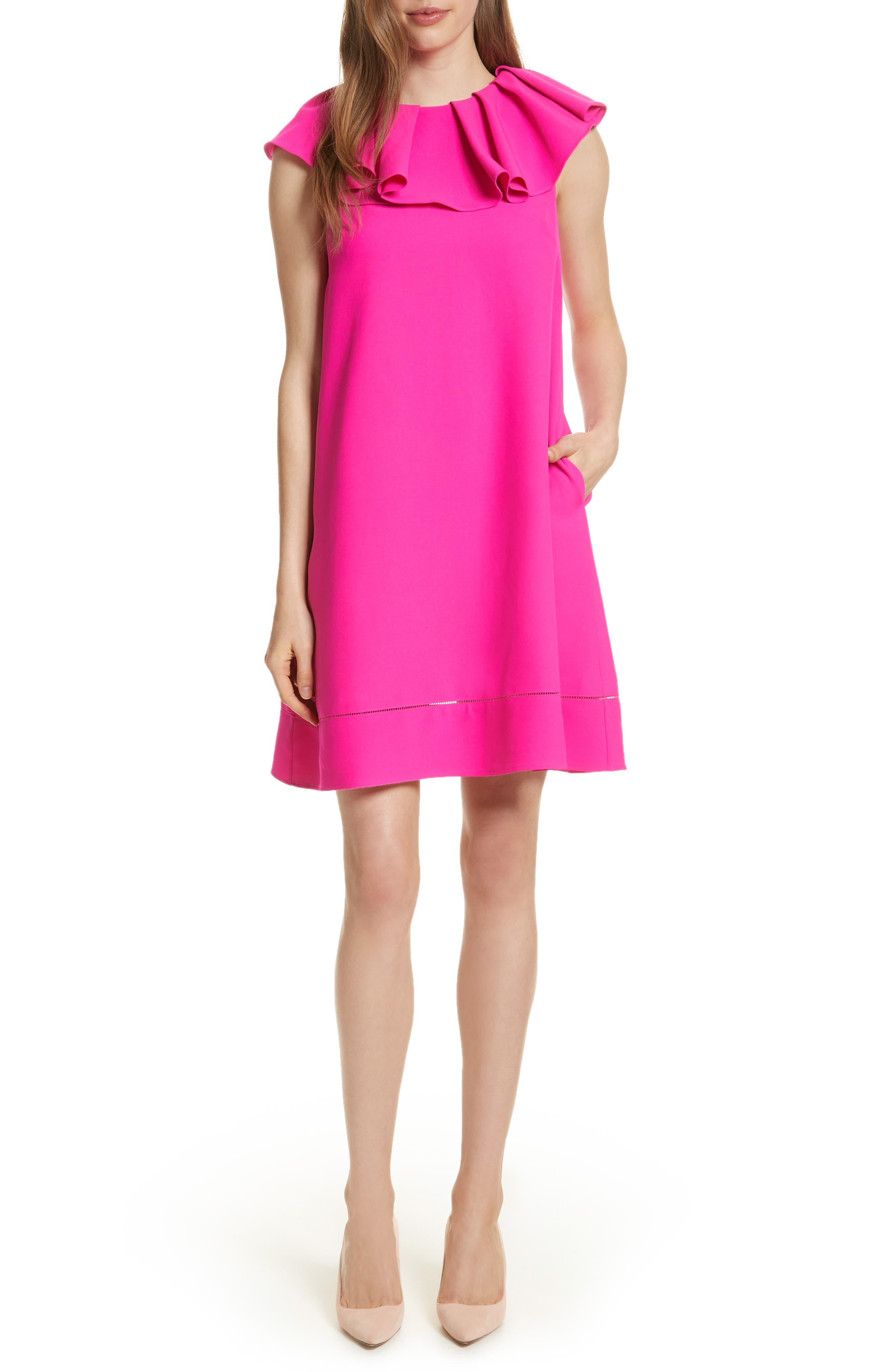 Ruffled Neck Shift Dress,                         Main,                         color, Bright Pink