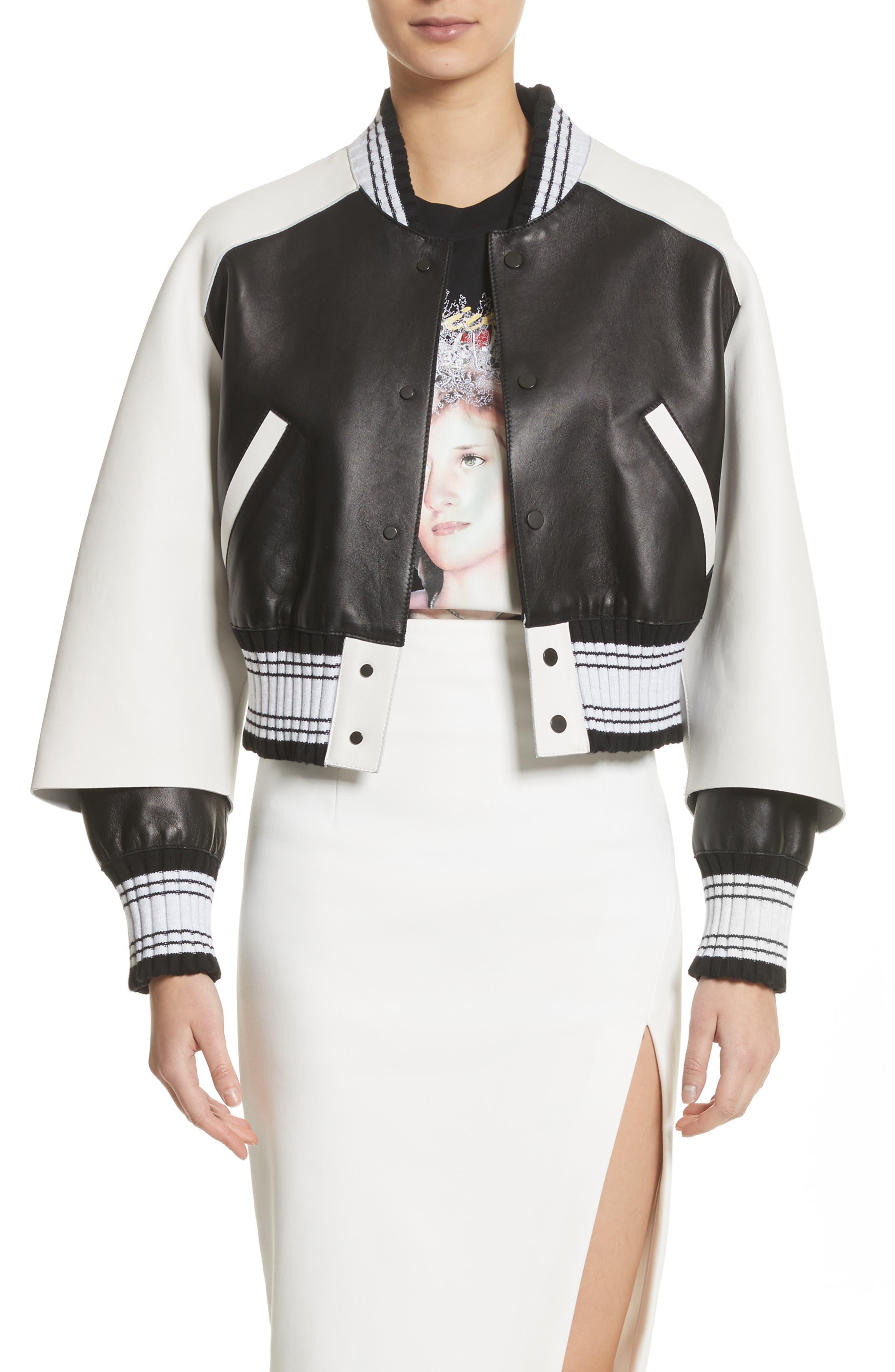 Crop Varsity Jacket,                             Main thumbnail 1, color,                             Multicolor White