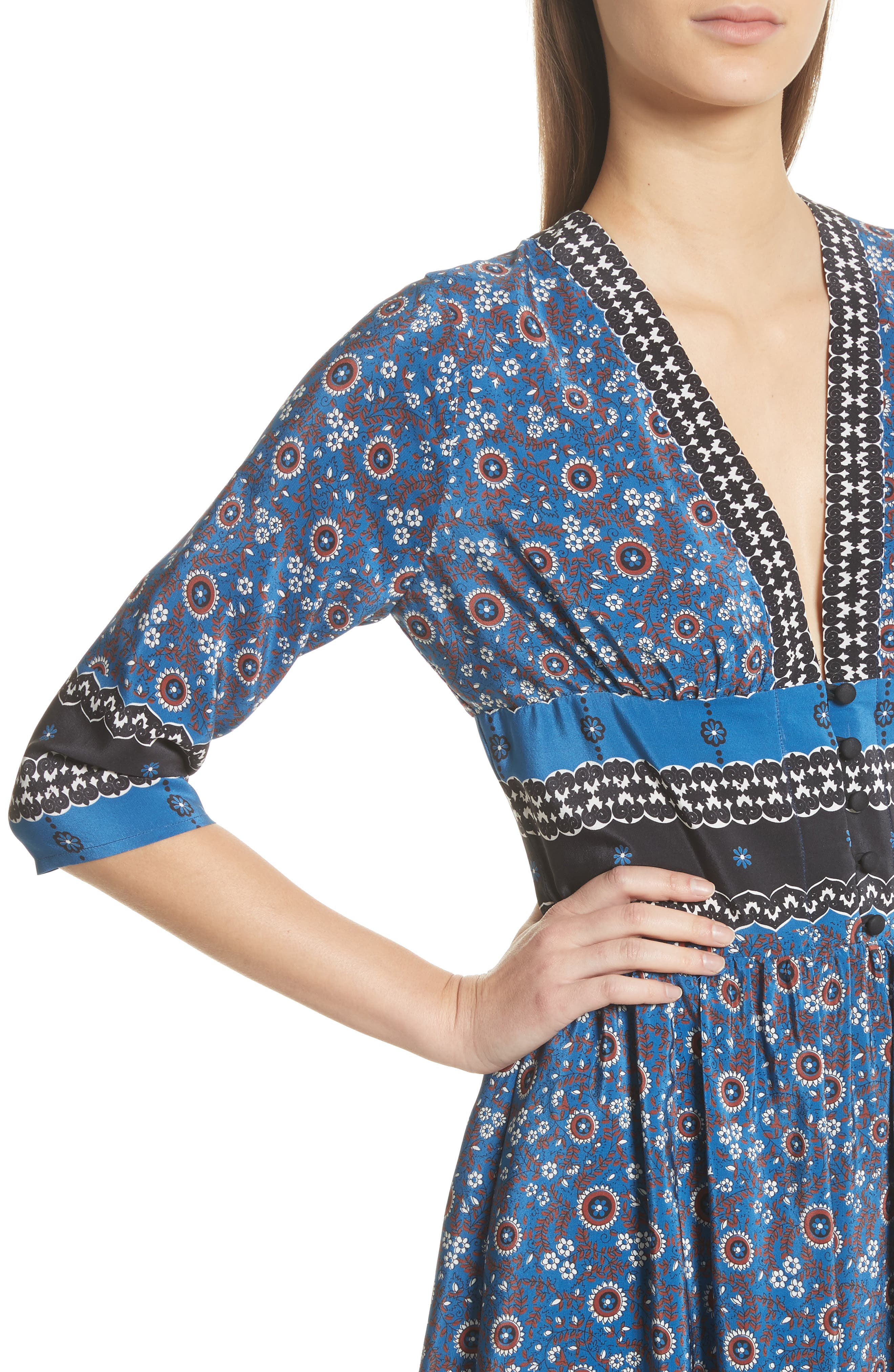Tallulah Empire Waist Silk Midi Dress,                             Alternate thumbnail 4, color,                             Blue Multi
