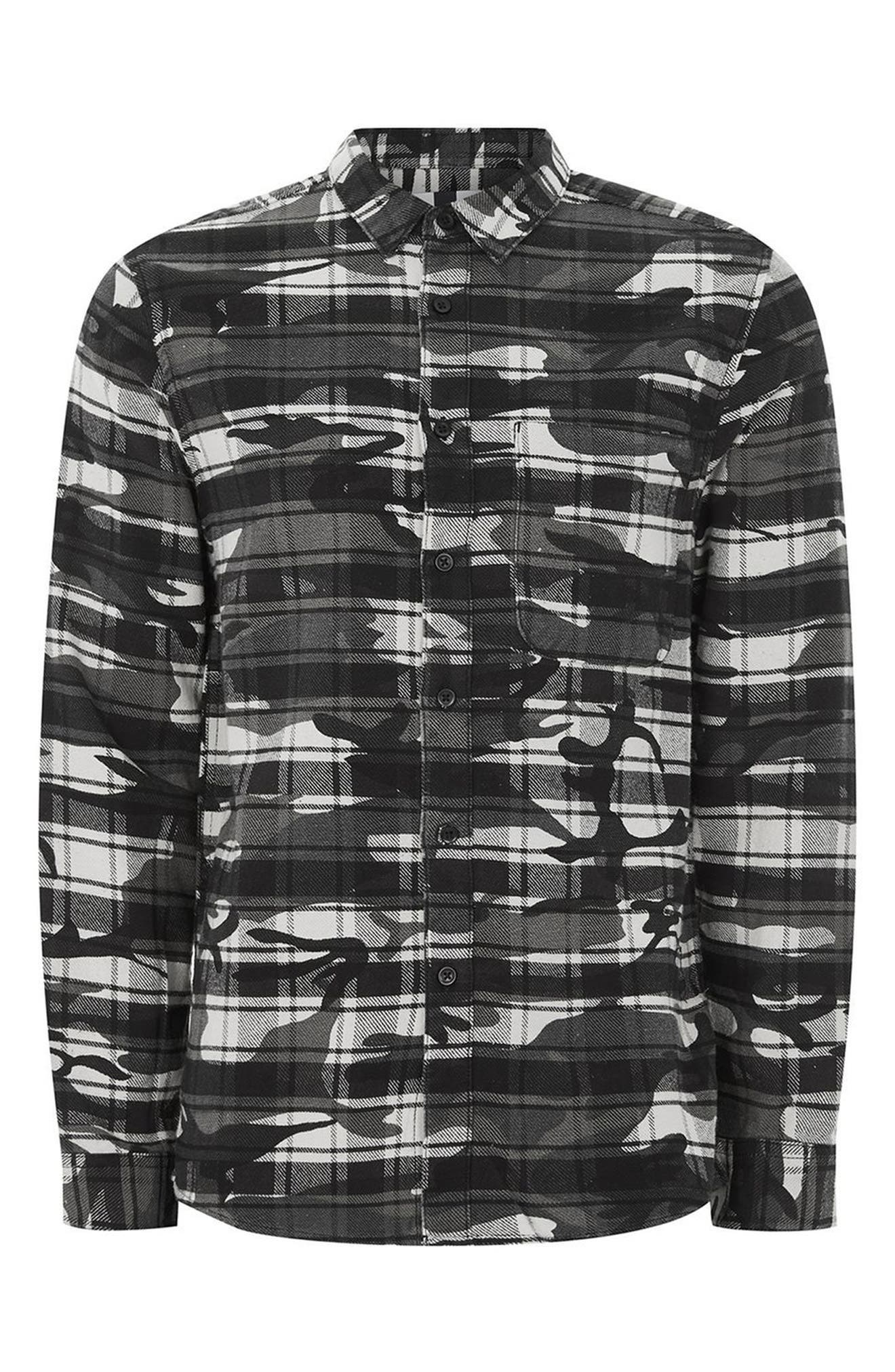 Camo Print Check Shirt,                             Alternate thumbnail 4, color,                             Dark Grey Multi